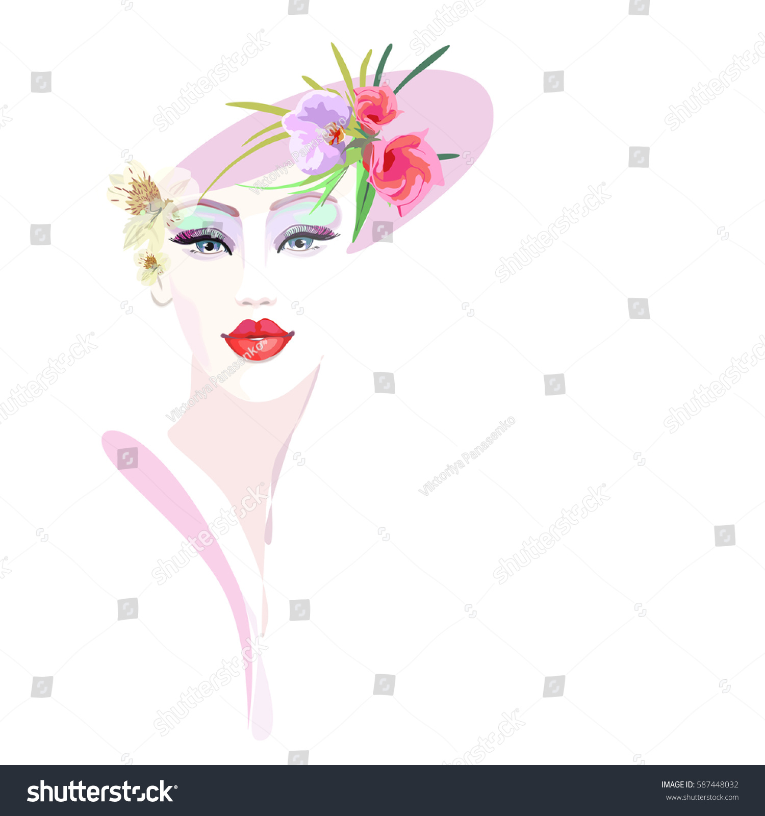 c769005c66 Abstract Watercolor Portrait Girl Floral Hat Stock Vector (Royalty ...