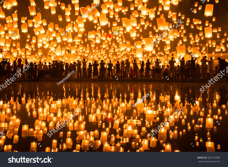 yipeng lantern festival chiangmai thailand stock photo royalty free