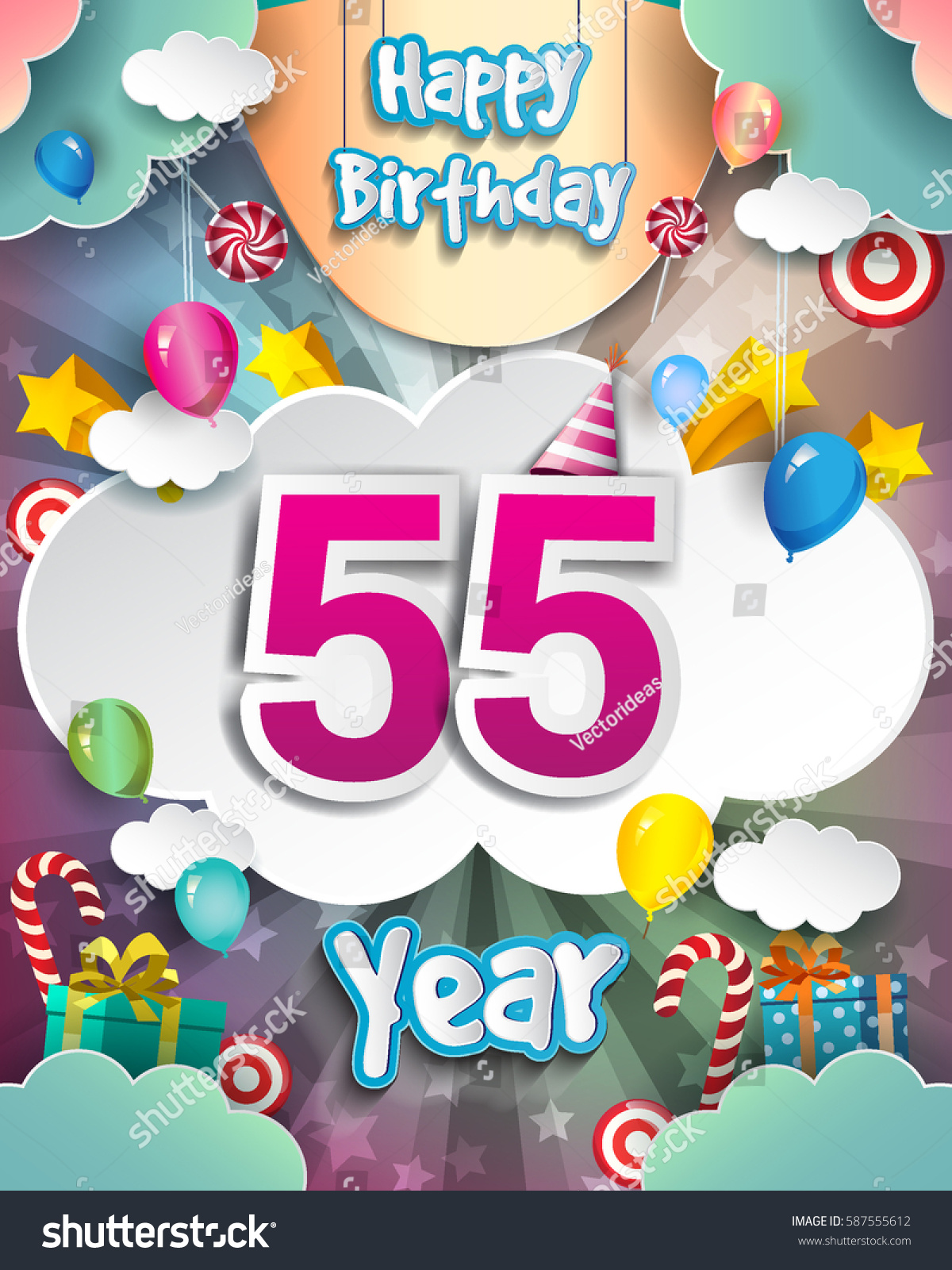 55th Birthday Celebration Greeting Card Design With Clouds And Balloons Vector Elements For The