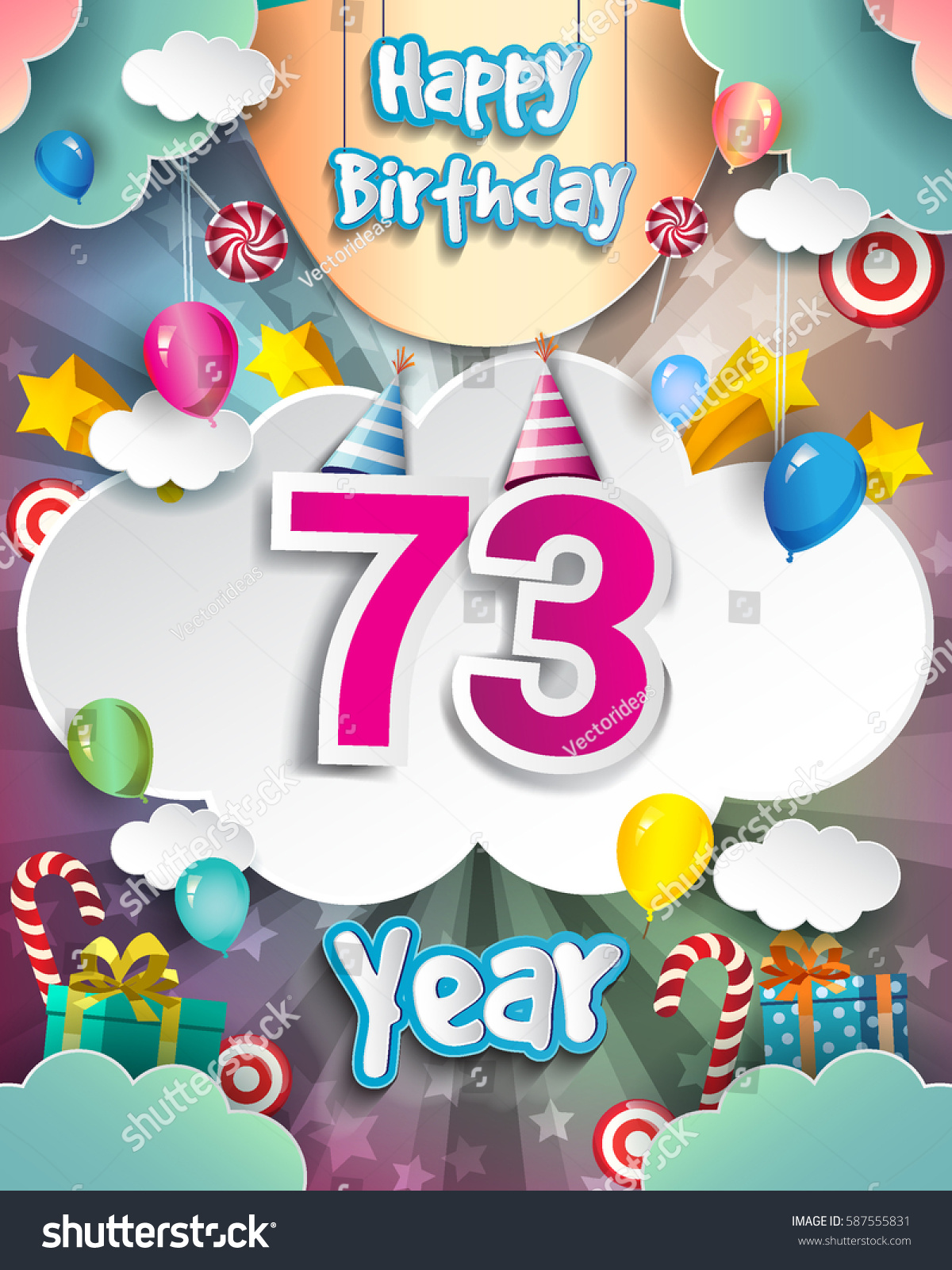 73rd birthday celebration greeting card design stock vector 73rd birthday celebration greeting card design with clouds and balloons vector elements for the kristyandbryce Images