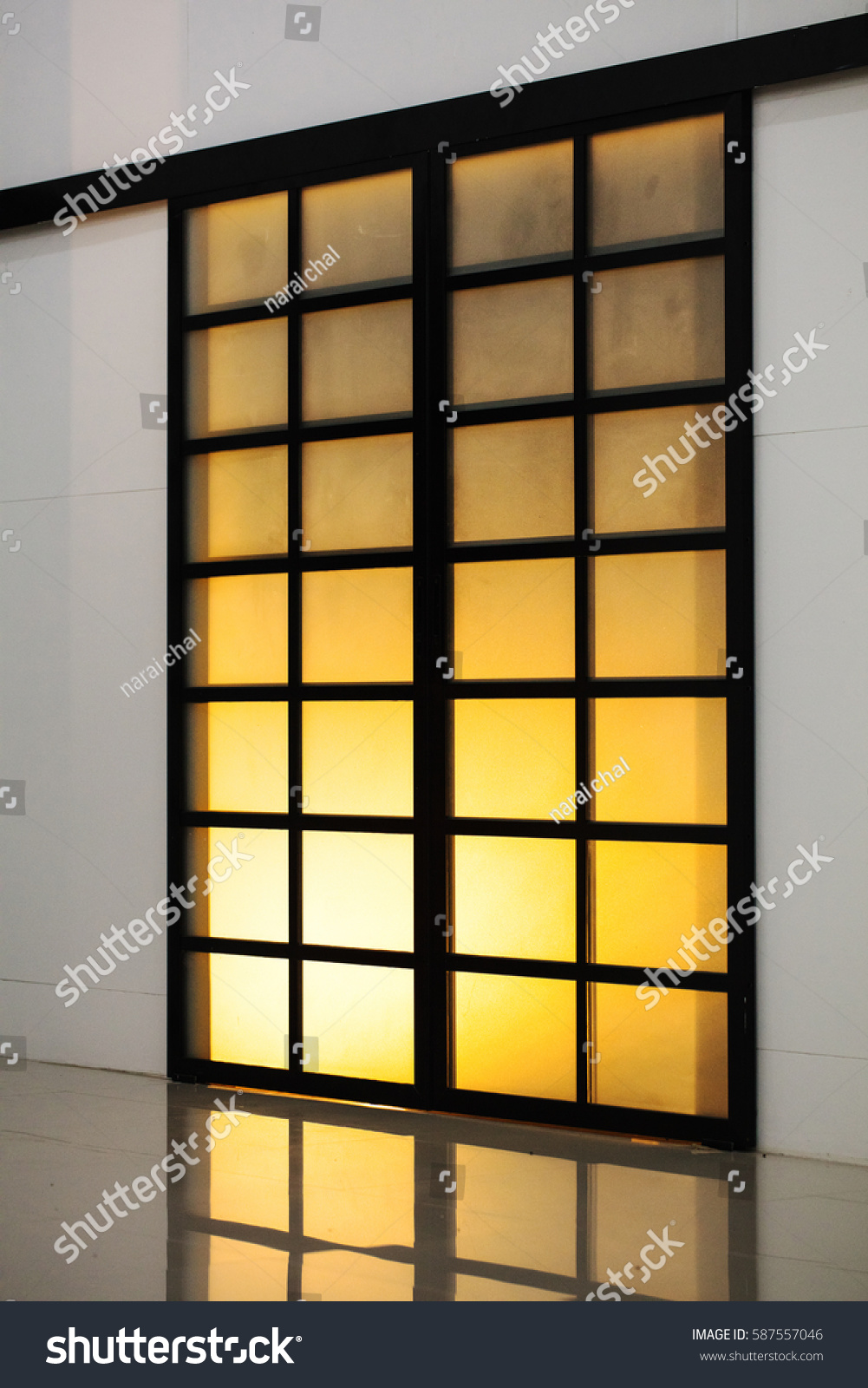 Beautiful and classic Japanese door style with lighting and reflection & Beautiful Classic Japanese Door Style Lighting Stock Photo ... pezcame.com