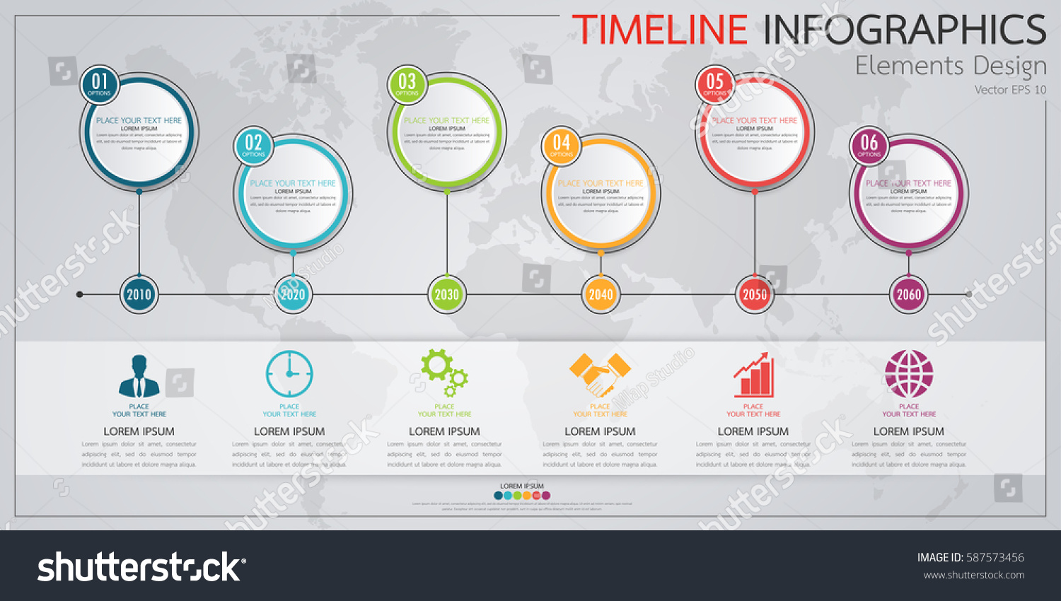 infographics business horizontal timeline process chart のベクター