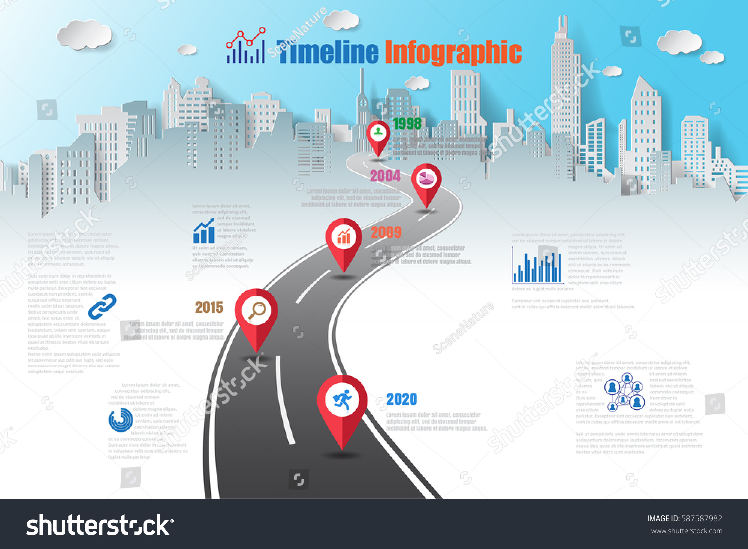 Design Template Road Map Timeline Infographic Stock Vector 587587982