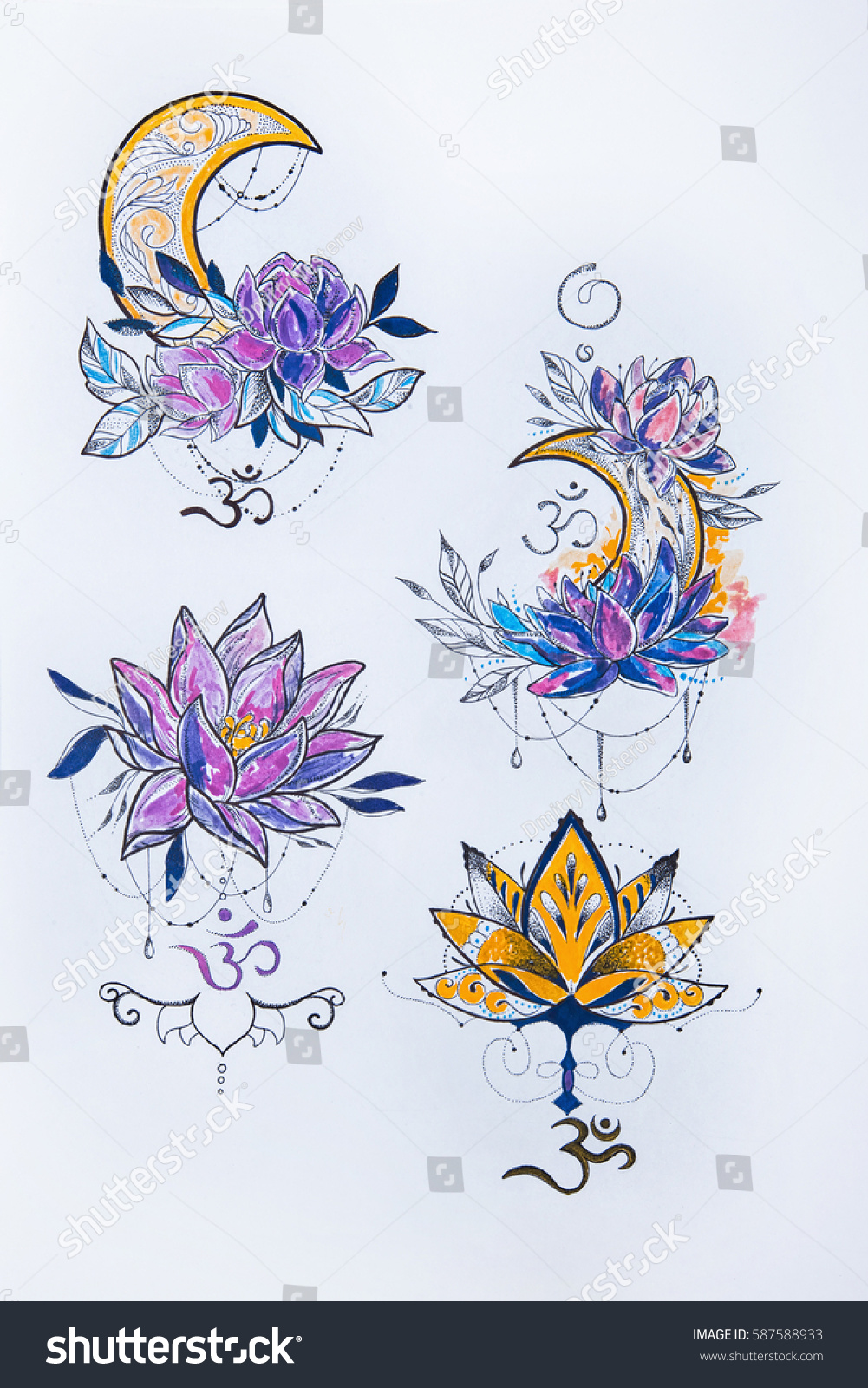 Sketch Lotus Moon On White Background Stock Illustration 587588933