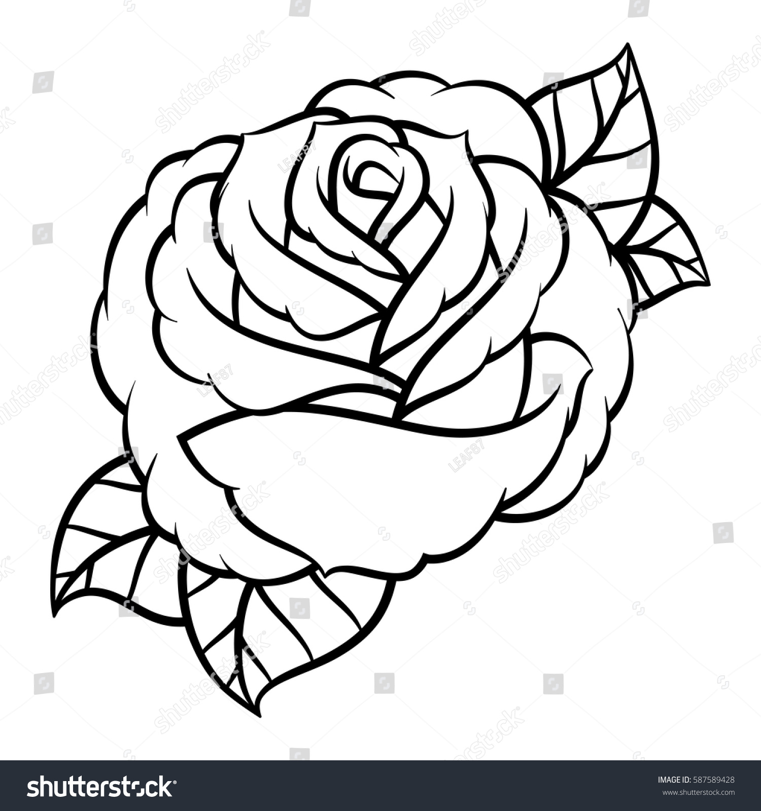 Flower Rose Black White Isolated On Stock Vector Royalty Free