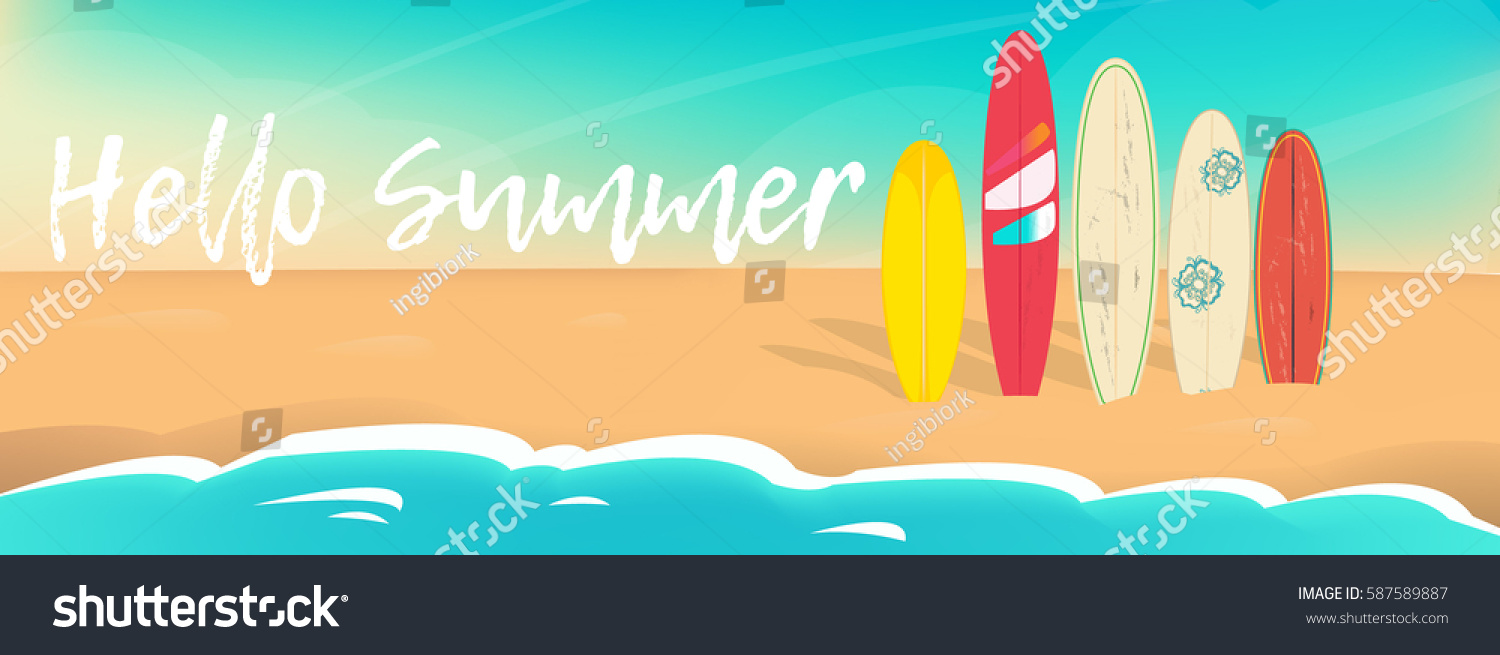 High Quality Hello Summer Vector Poster. Sea Sand Sky And Summer Day
