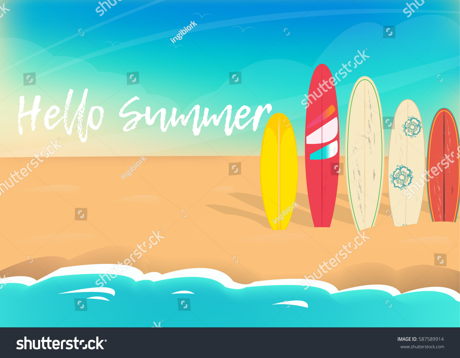 Marvelous Hello Summer Vector Poster. Sea Sand Sky And Summer Day Amazing Design