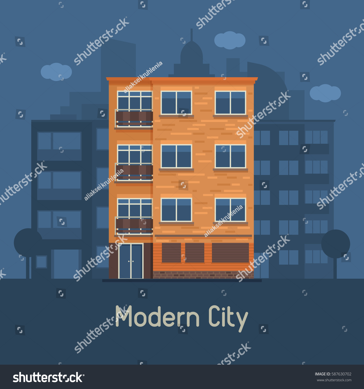 Apartment Building Front apartment building front view on urban stock vector 587630702