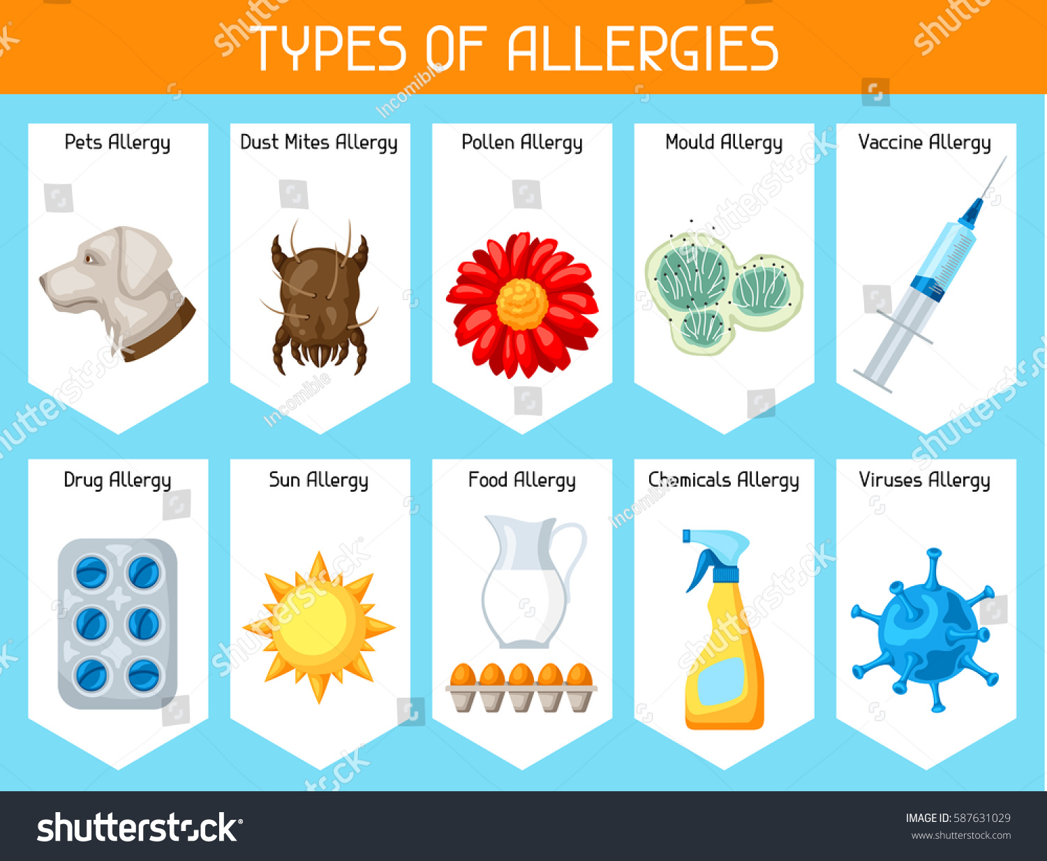 Types Allergies Background Allergens Symbols Vector Stock