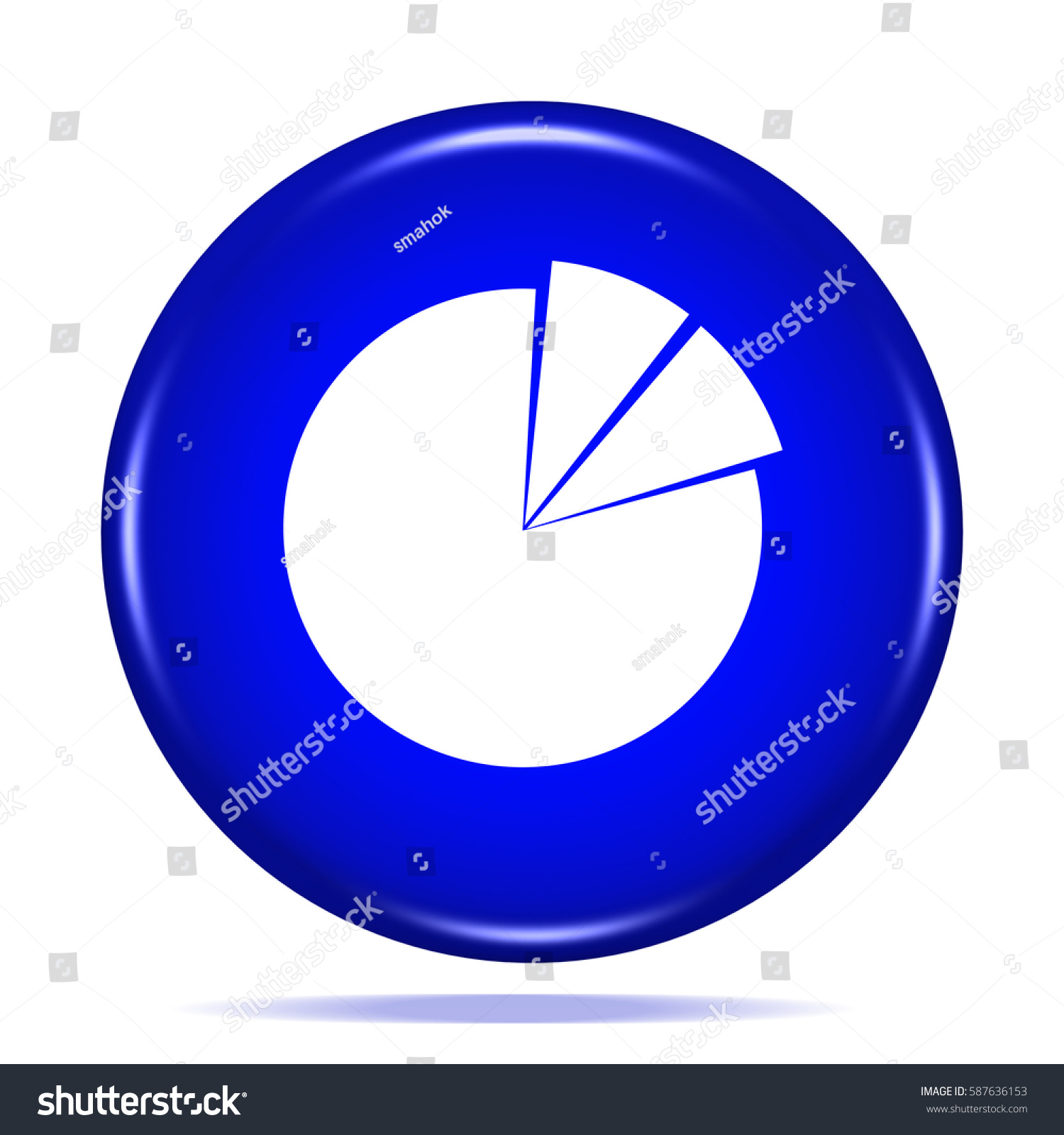 Business Pie Chart Icon Internet Button 3 D Stock Illustration