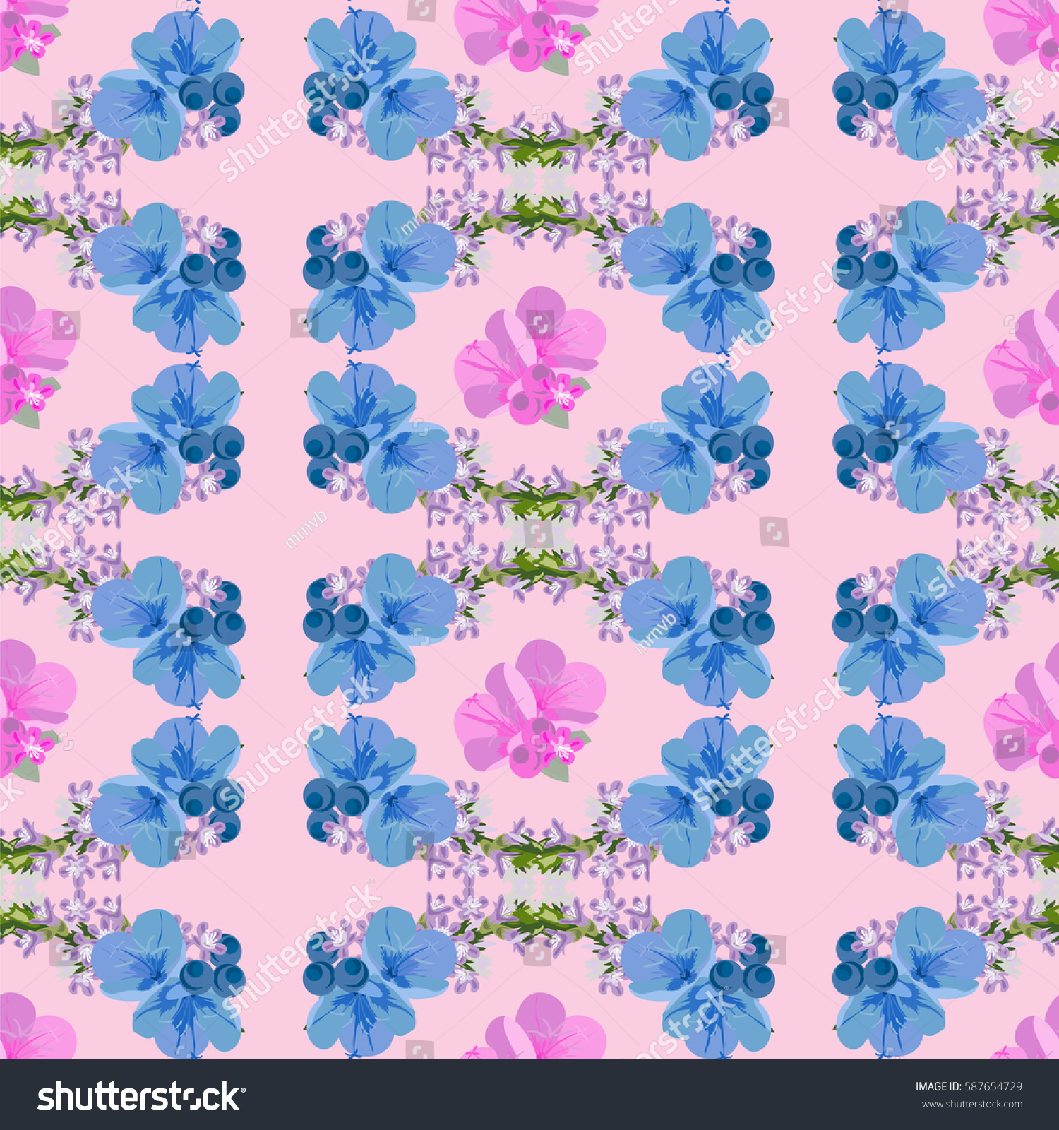 Seamless Floral Pattern Cute Blue Flowers Stock Vector Royalty Free
