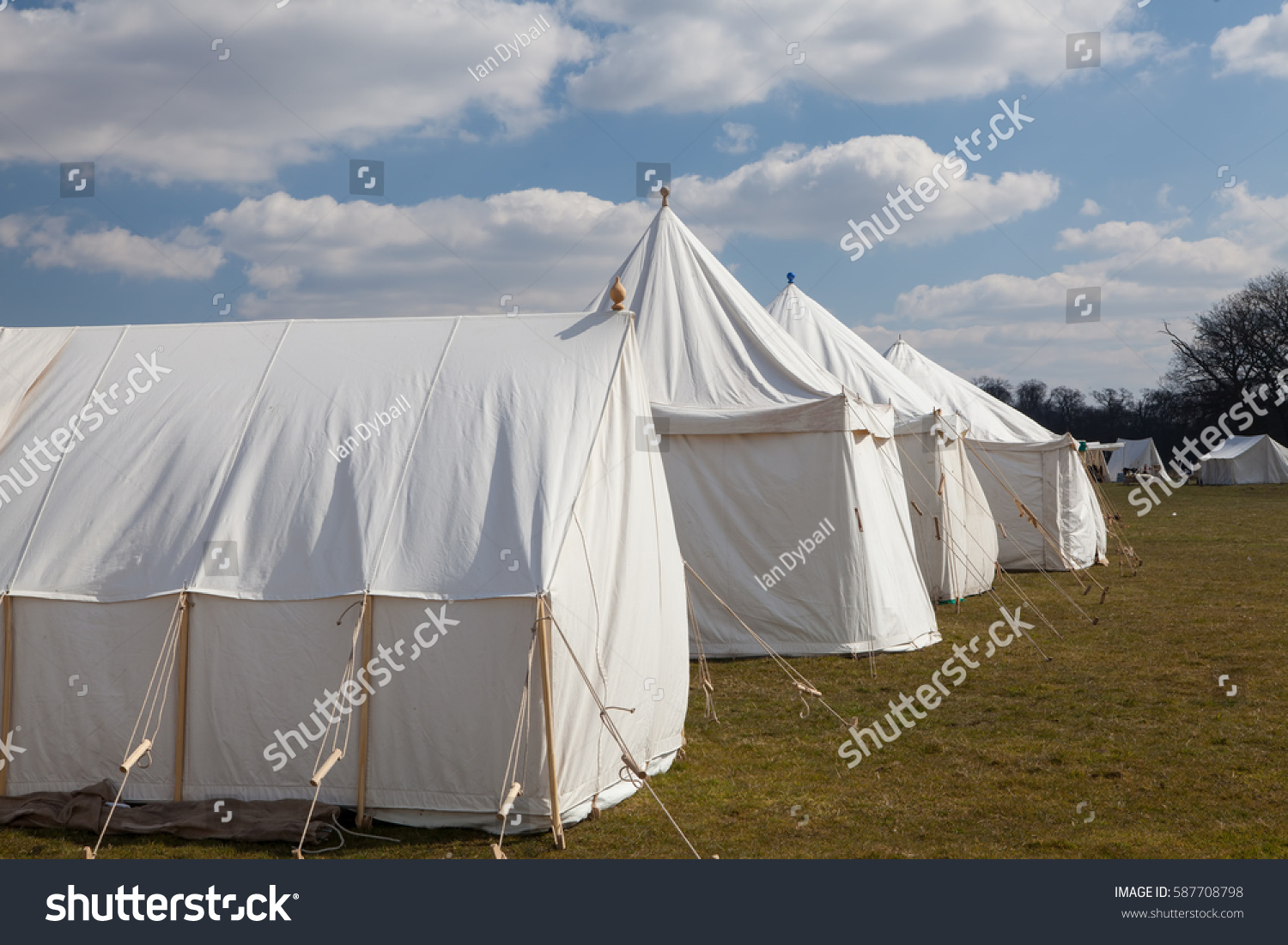 Vintage white c&ing wall tents. Napoleonic war white military c&ing tents pitched on the open & Vintage White Camping Wall Tents Napoleonic Stock Photo 587708798 ...