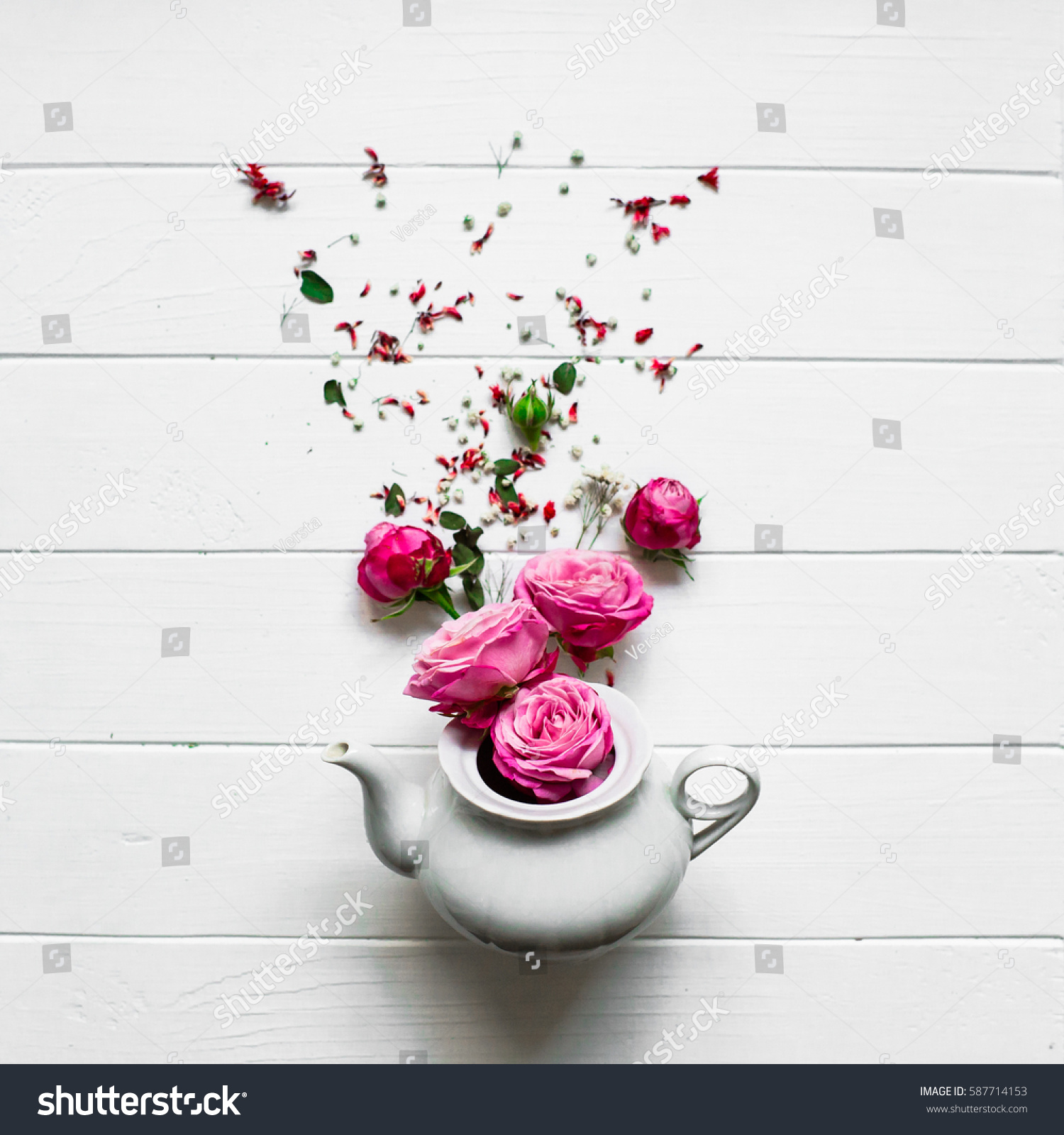 Studio Photo White Tea Flowers Stock Photo Edit Now 587714153
