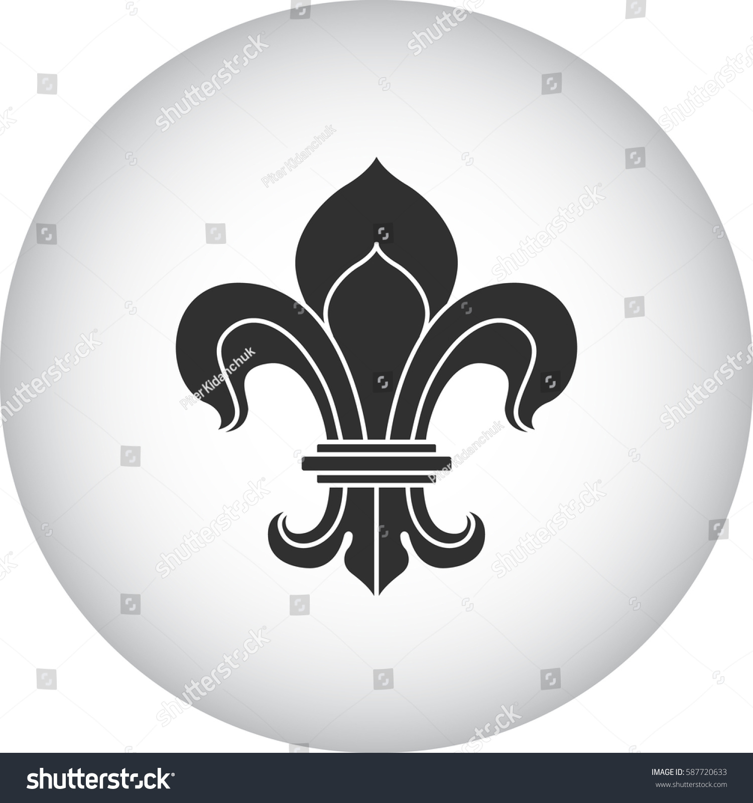 Royal Lily Fleur De Lis Symbol Stock Vector Royalty Free 587720633