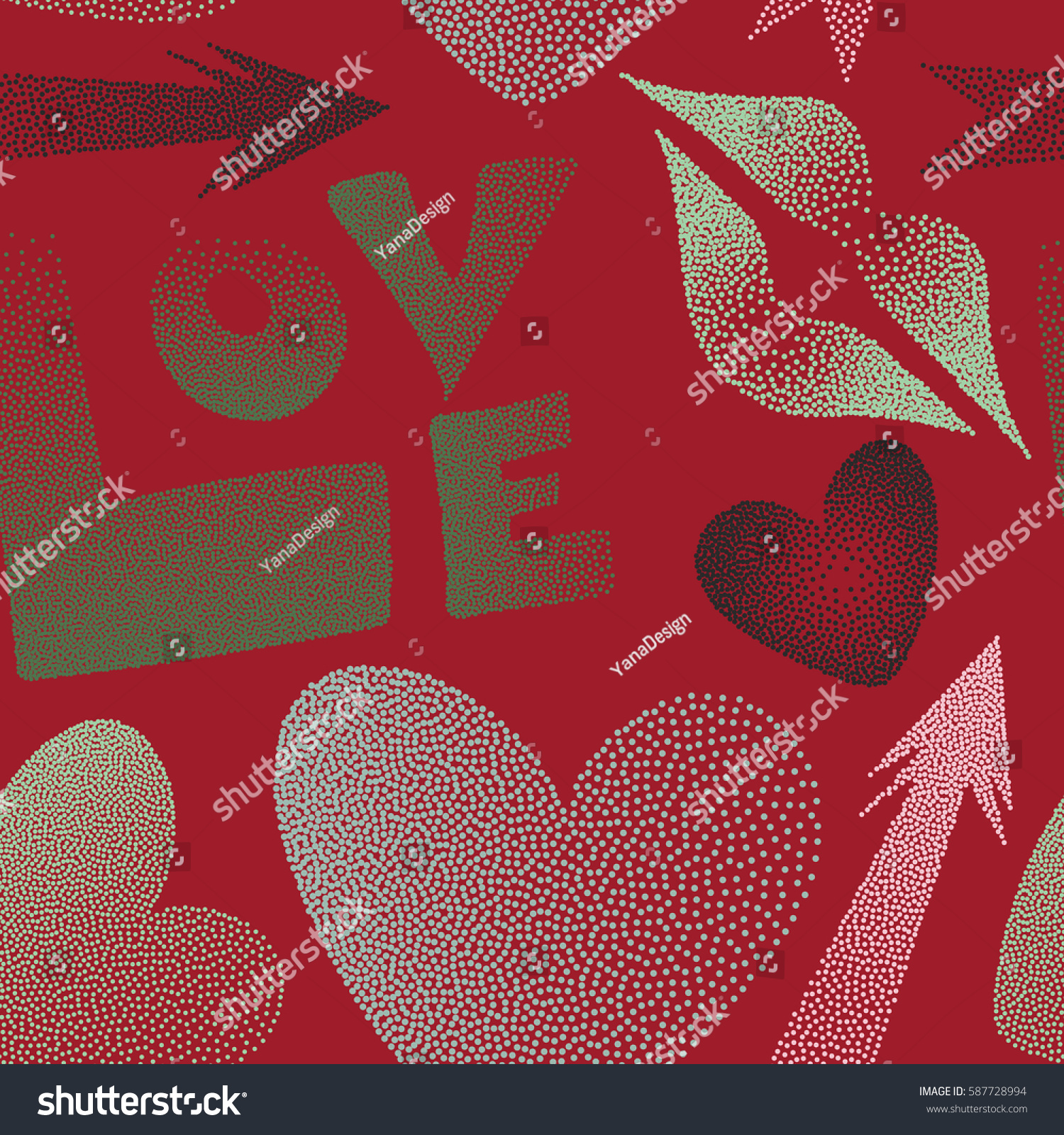 Romantic Love Symbols Green Red Colors Stock Illustration 587728994