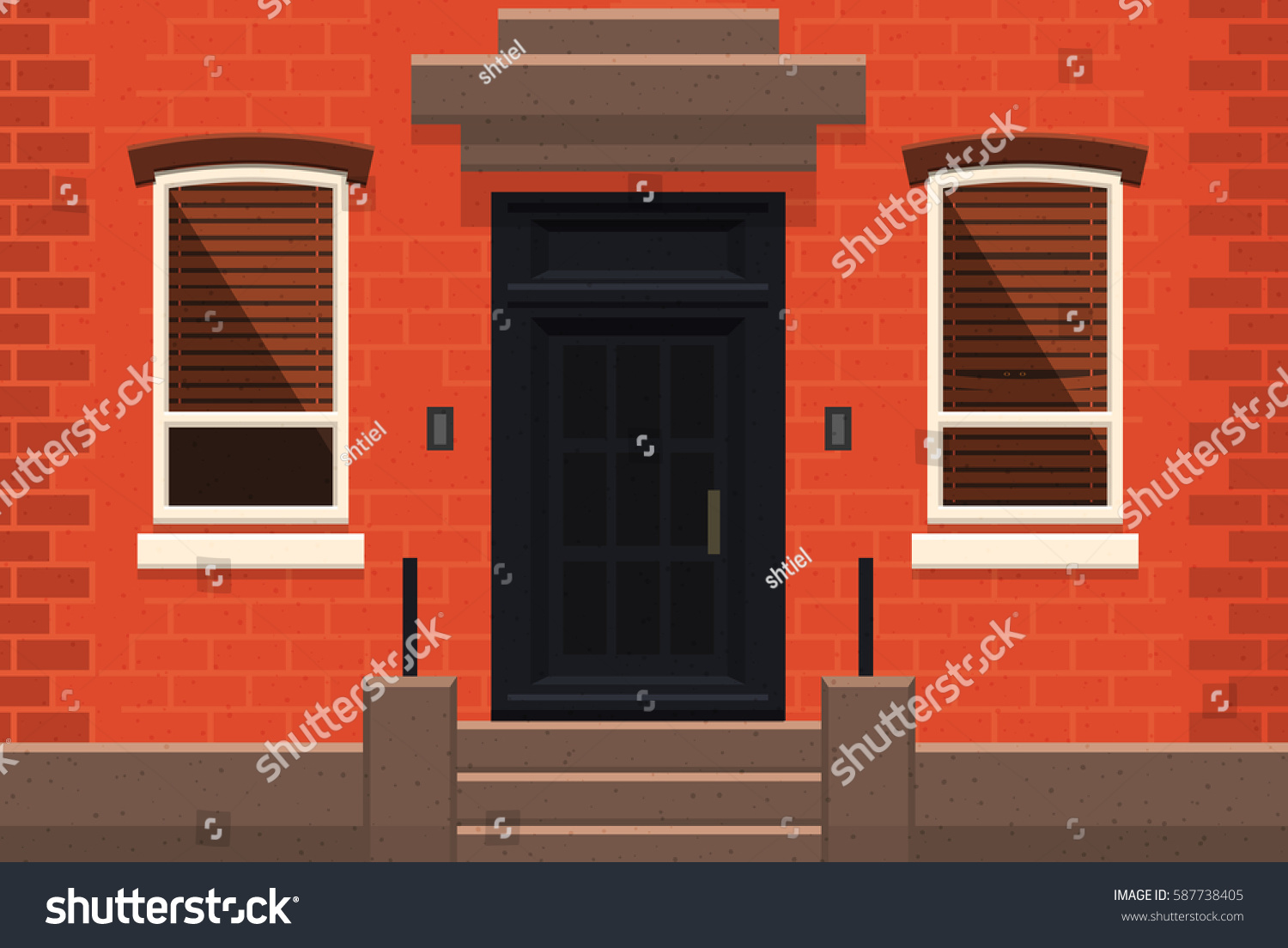 Brooklyn Red Brick Apartment Building Flat Stock Vector 587738405