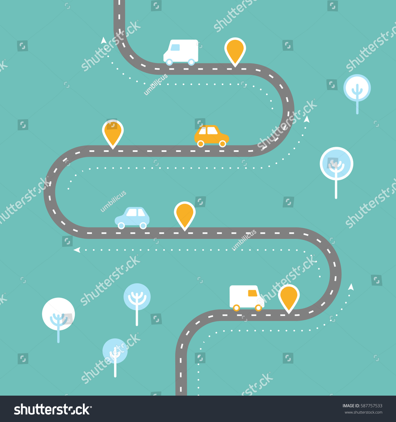 Infographic Template Winding Road Pinpointers Landscape Stock Vector ...
