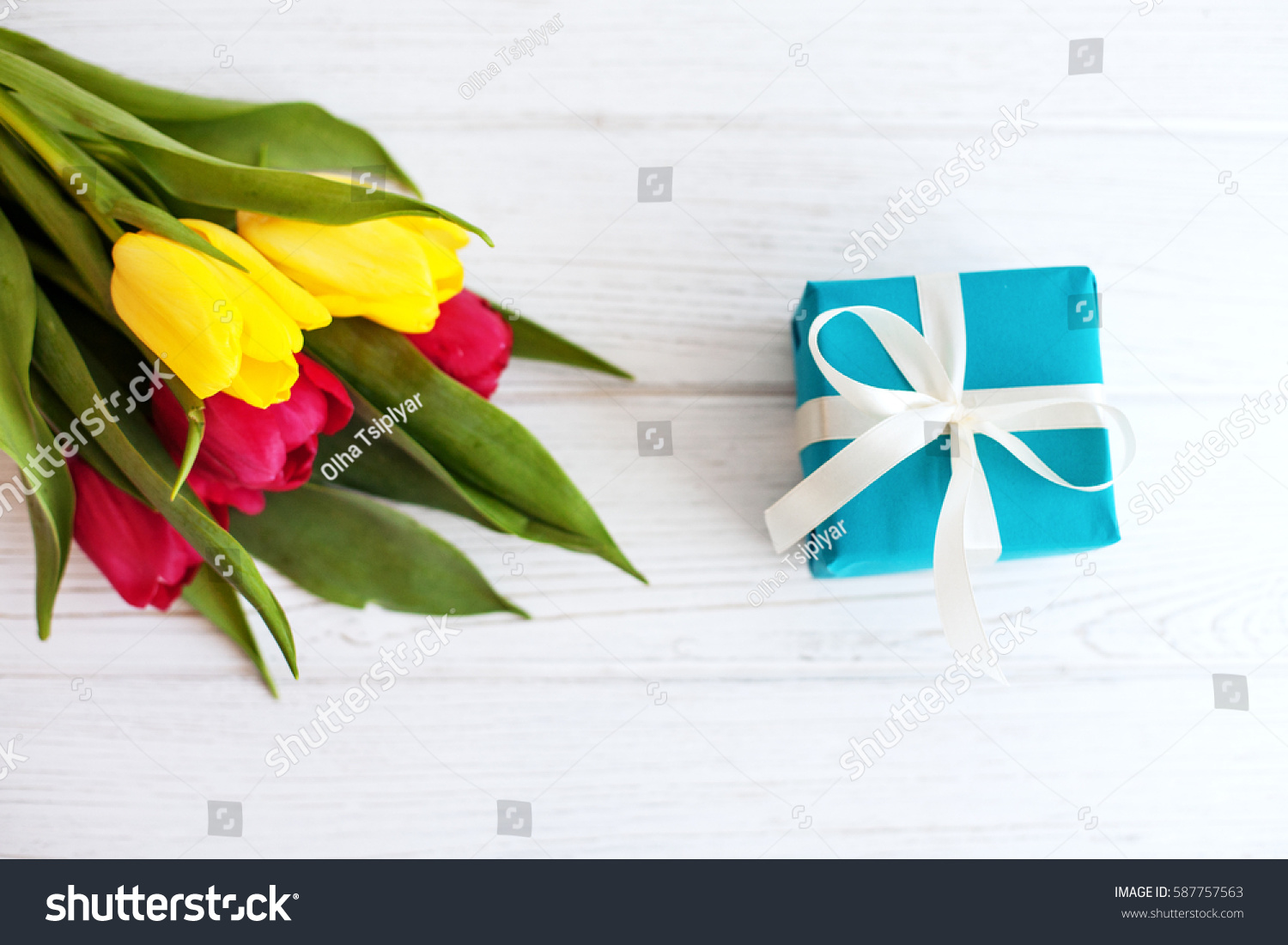 Flowers Gift Top View Concept Holiday Stock Photo Edit Now