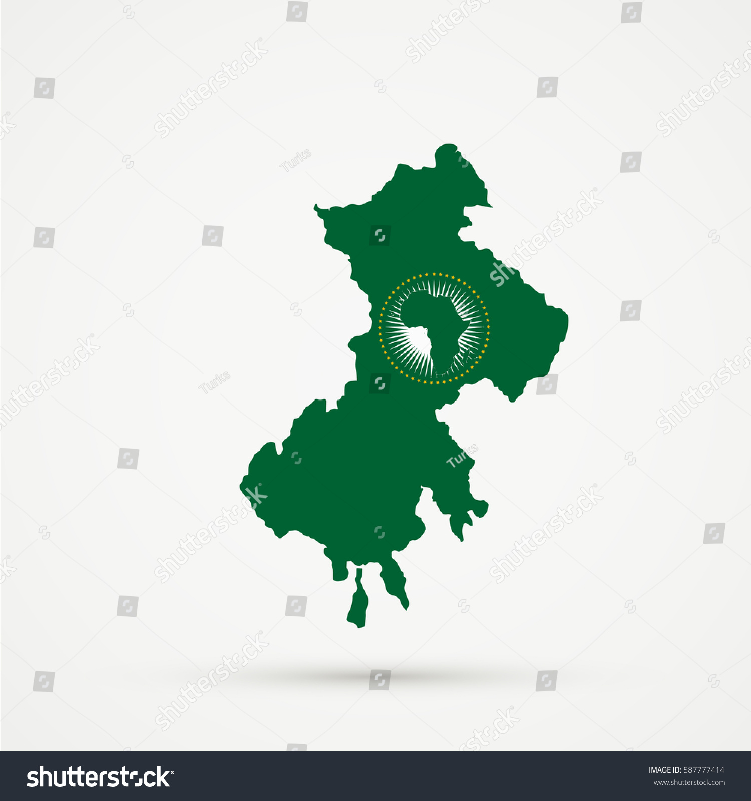 African Union Map.North Kosovo Map African Union Flag Stock Vector Royalty Free