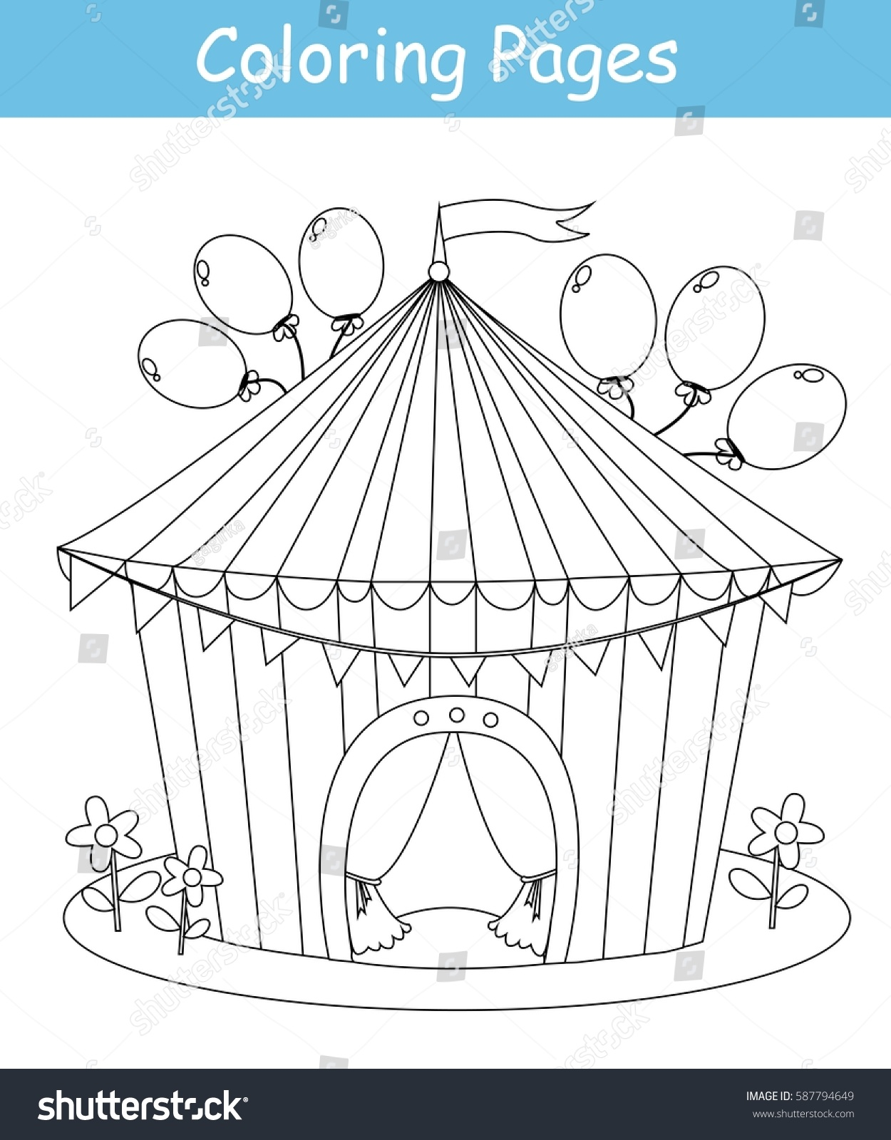 Coloring Page Circus Tent Vector