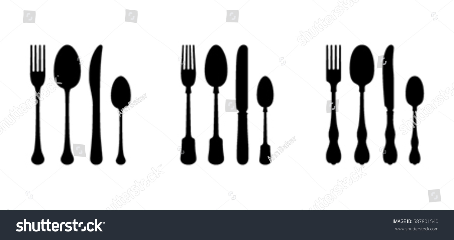 three cutlery sets modern vintage stock vector 587801540