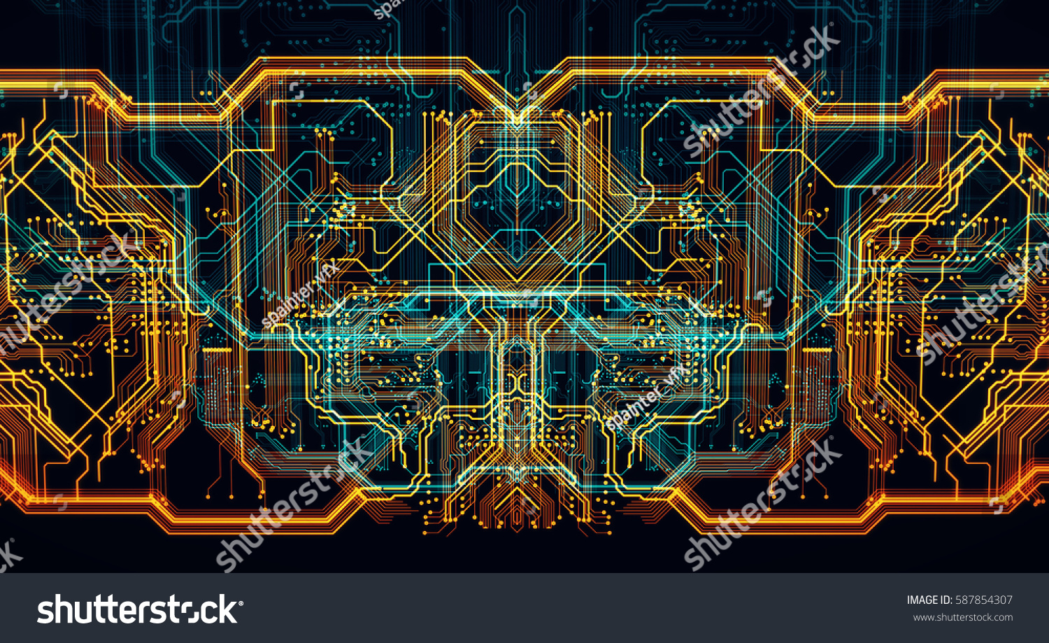 Circuit Board Futuristic Server Code Processing Stock Illustration Of Printed A Green Orange Blue Technology Background 3d