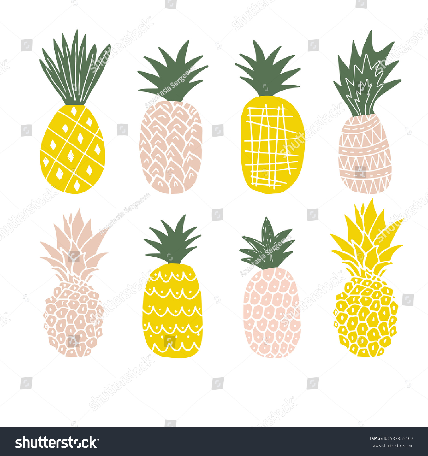 cute pineapple clipart. set of cute pineapples. pineapple clipart