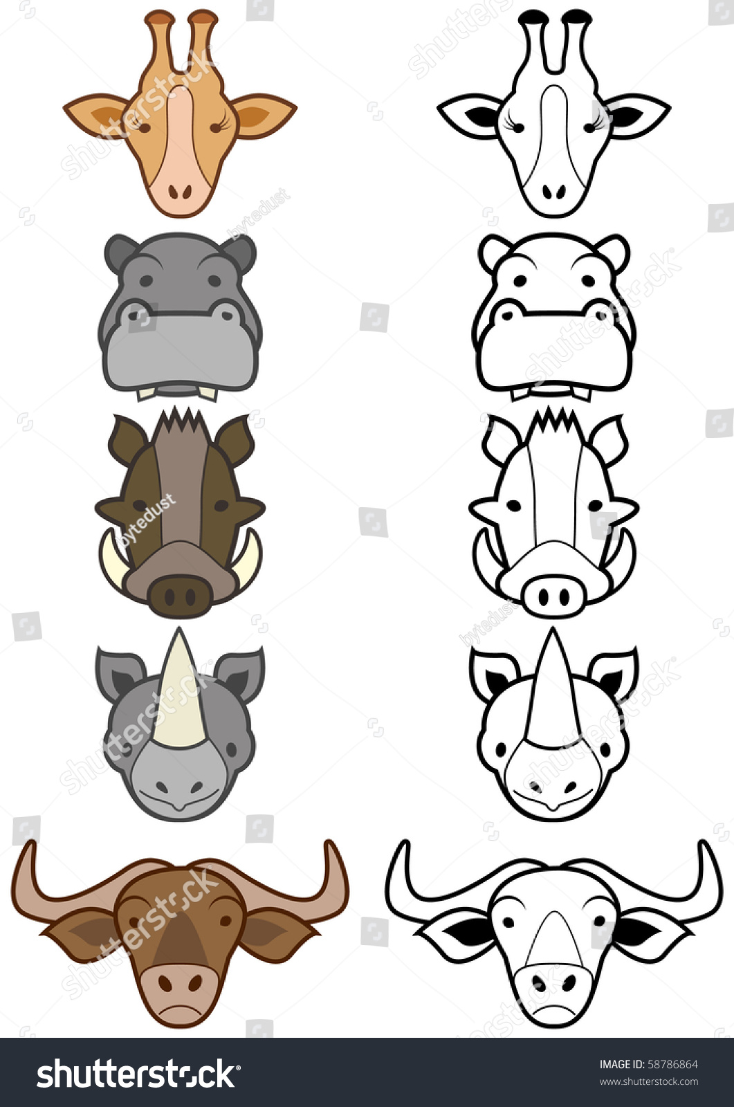 Vector Illustration Set Of Different Cartoon Wild Or Zoo
