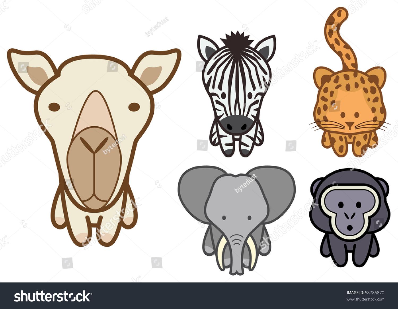 Vector Illustration Set Different Cartoon Wild Stock
