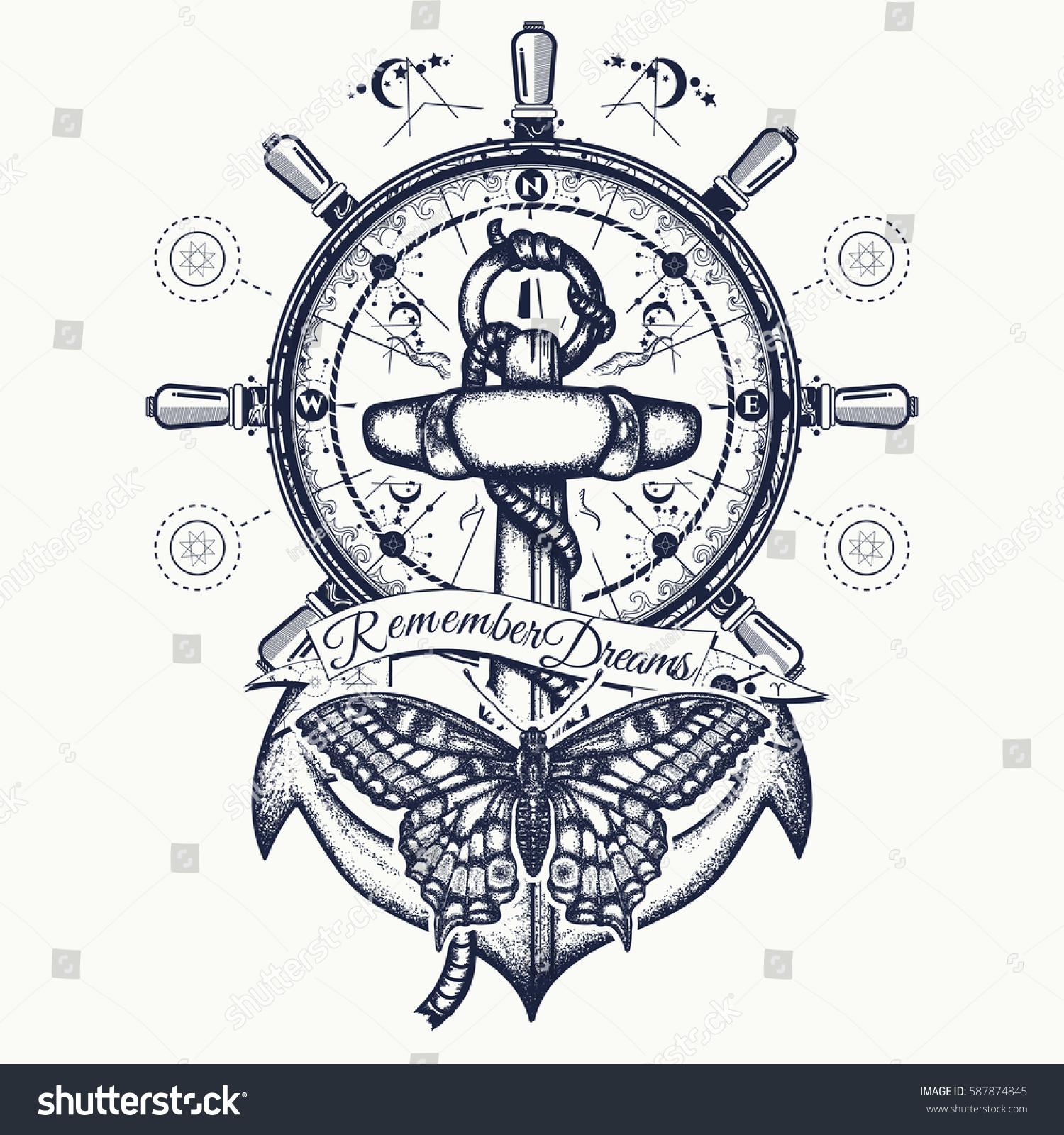 Anchor Steering Wheel Butterfly Tattoo Art Stock Vector Royalty