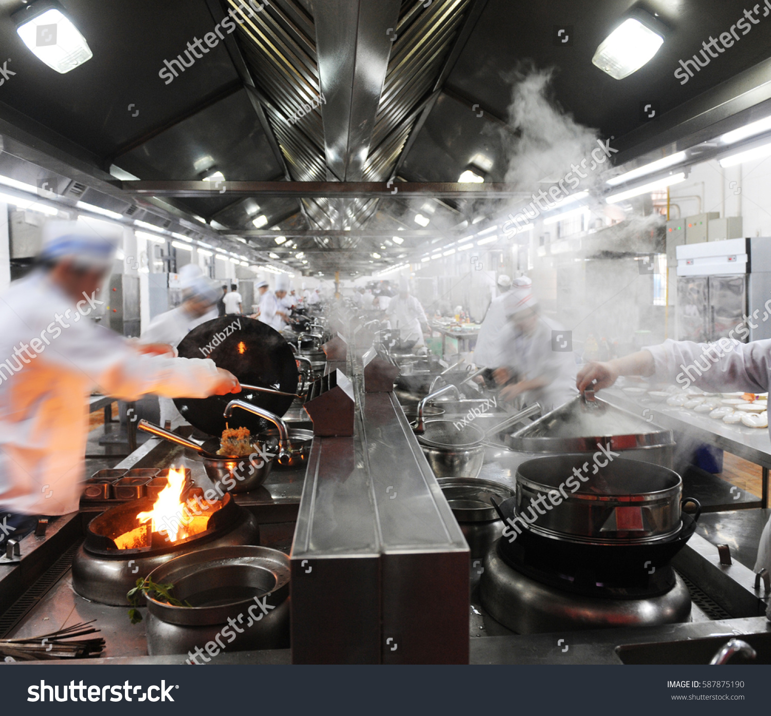 motion chefs chinese restaurant kitchen stock photo