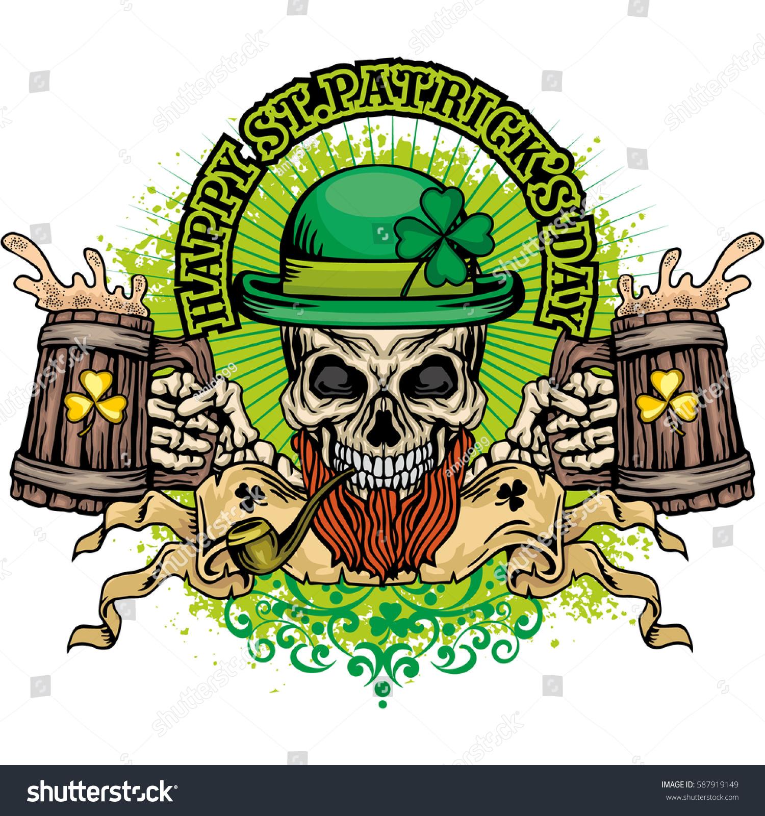 Irish coat arms skull clover grunge stock vector 587919149 irish coat of arms with skull and clover grunge vintage design t shirts buycottarizona Images