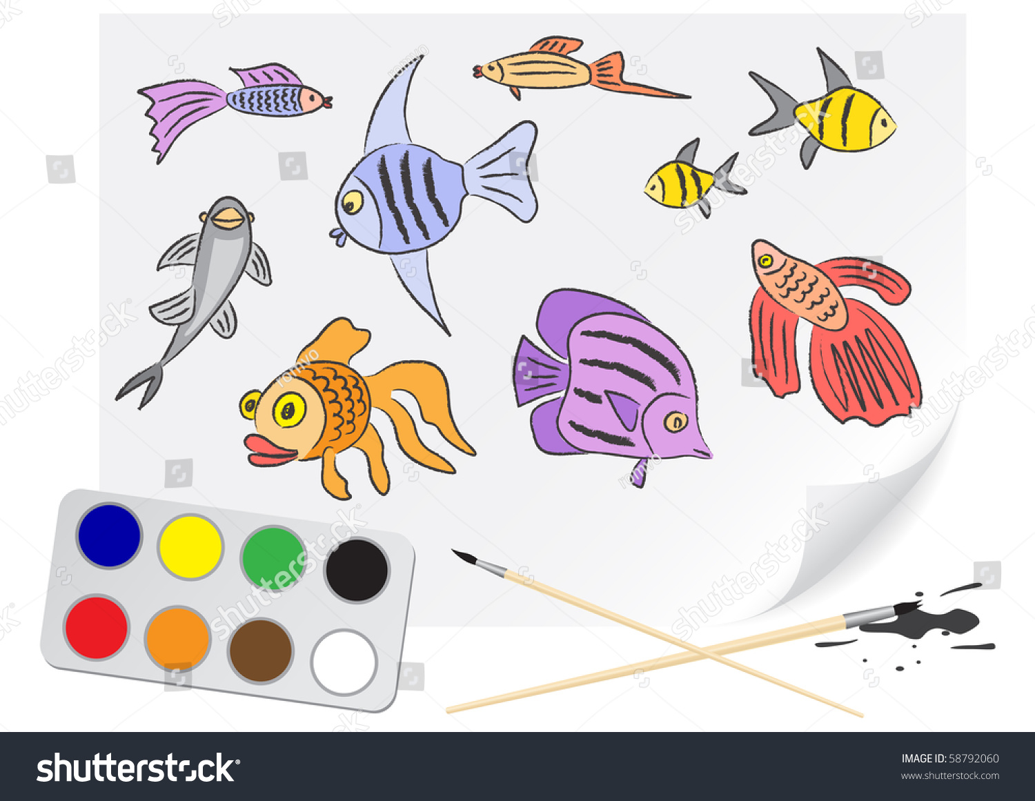 Fish tank drawing pictures - Children Drawing The Aquarium Fishes A Brush Paints On A Paper