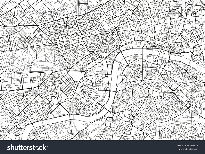Black White Vector City Map London Stock Vector Royalty Free