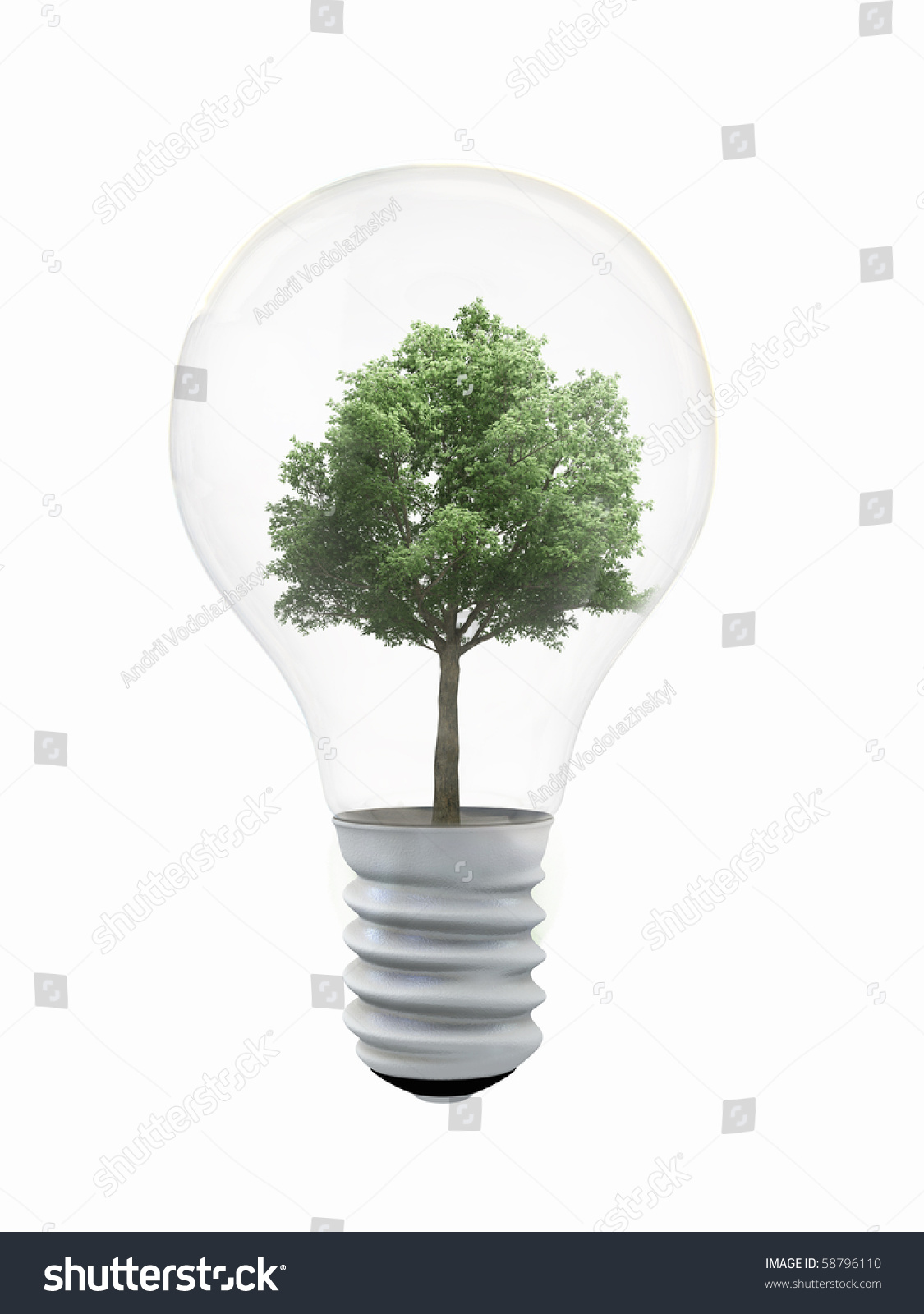 Environmental Ideas Tree In A Lightbulb Stock Photo ...