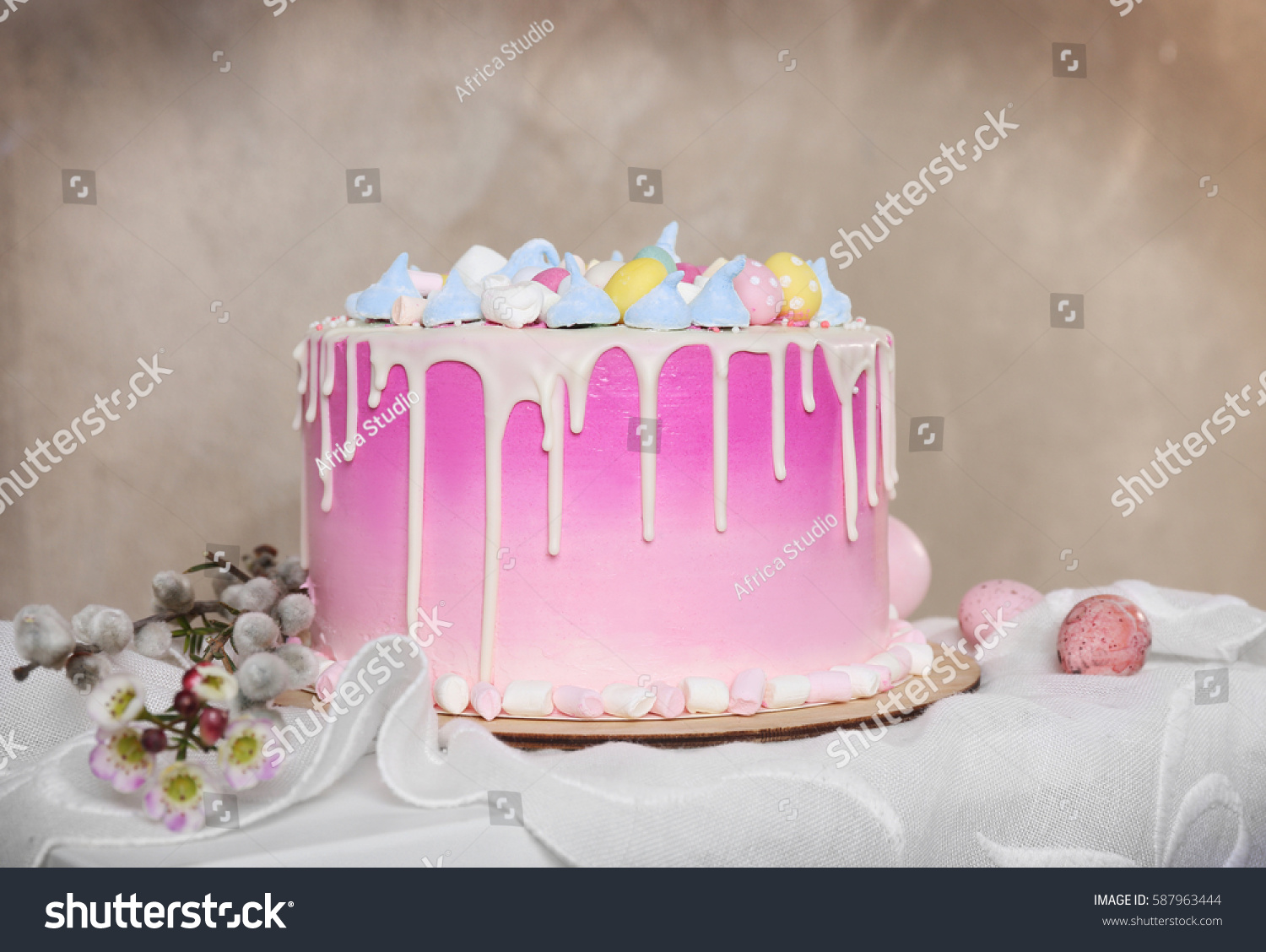 beautiful easter cake on blurred background stock photo