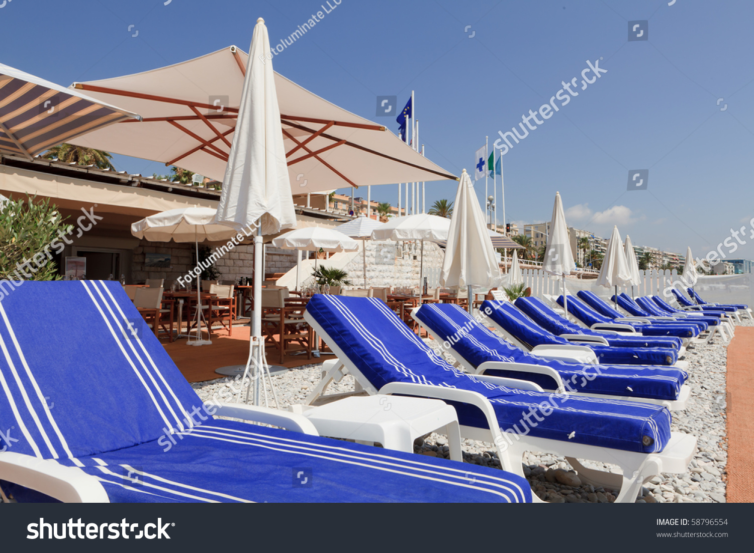 beach lounge chairs on the french riviera in nice france - Beach Lounge Chairs