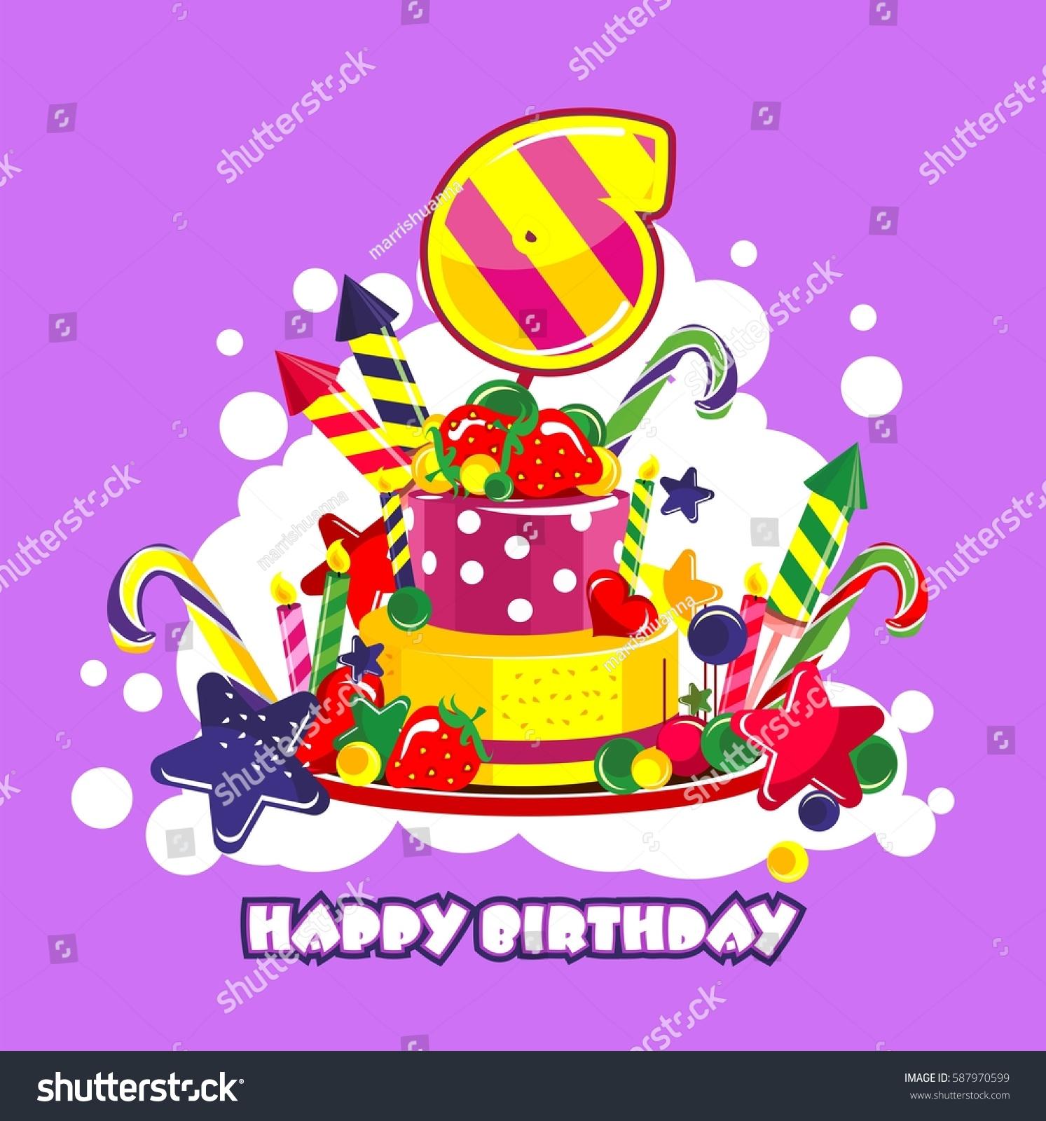 Vector Illustration Birthday Cake Birthday Sweets Stock Vector