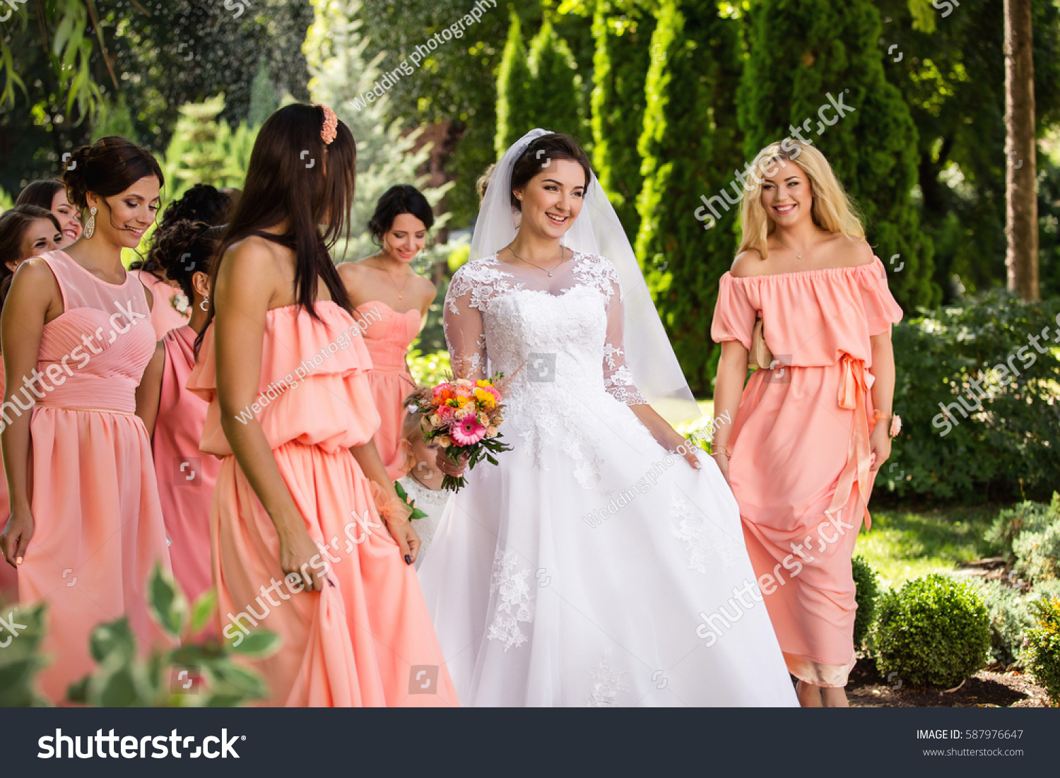 Songs For Bridesmaids To Walk Out To: Beautiful Bride Her Friends Bridesmaids Having Stock Photo