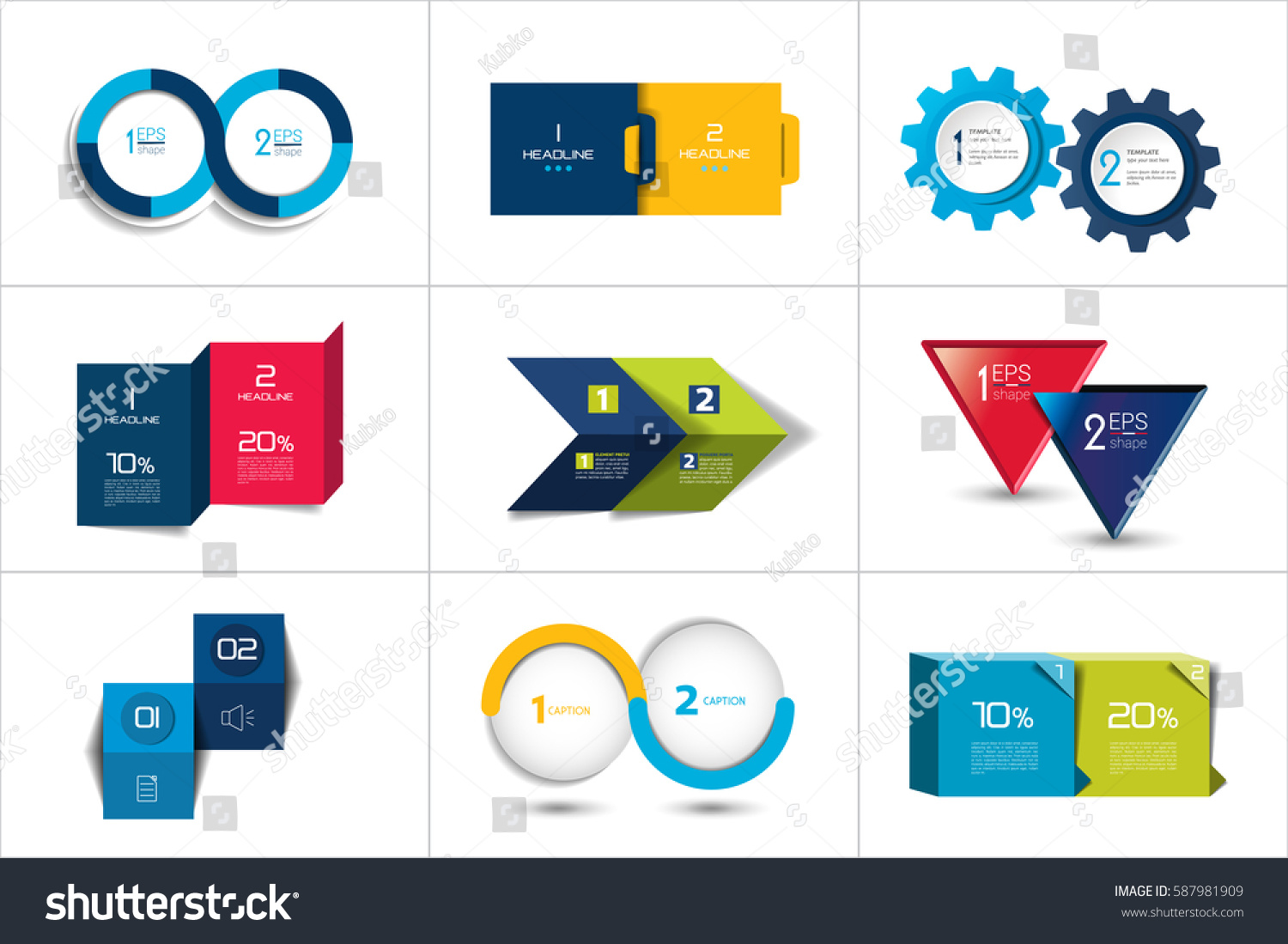 Design elements banner - Two Elements Banner 2 Steps Design Chart Infographic Step By Step Number