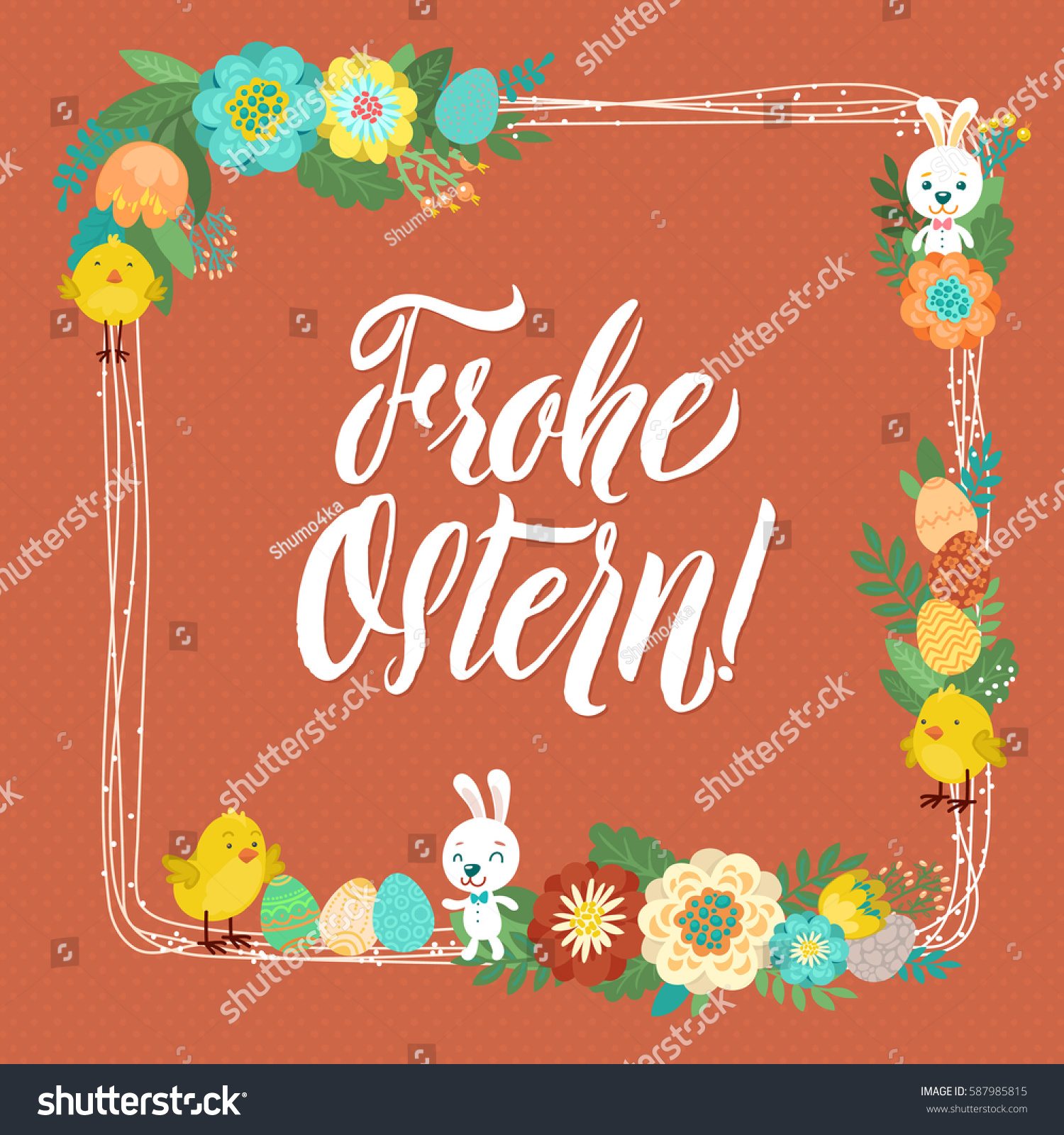 Happy Easter German Calligraphy Greeting Card Stock Photo Photo