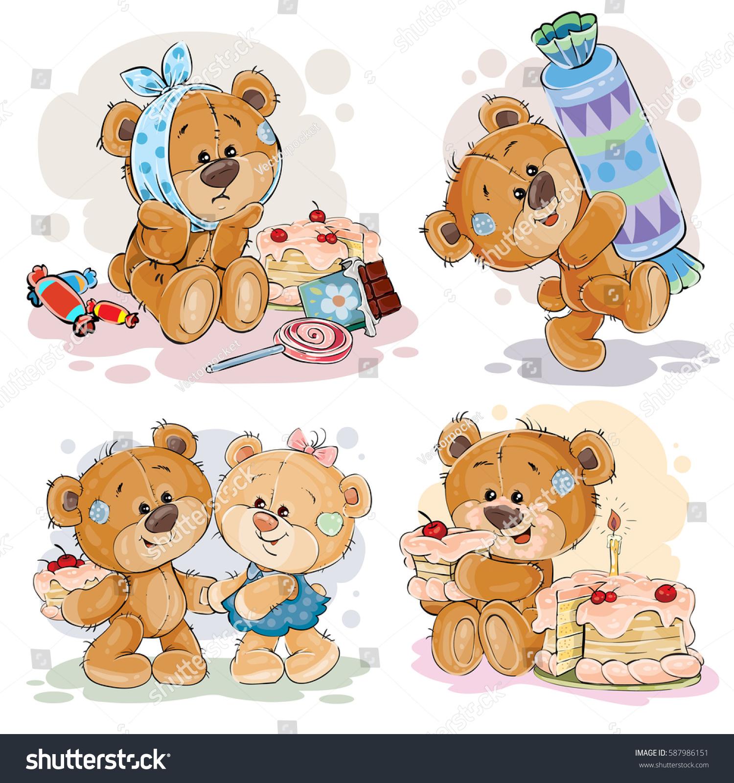 funny illustrations teddy bear on theme stock vector 587986151