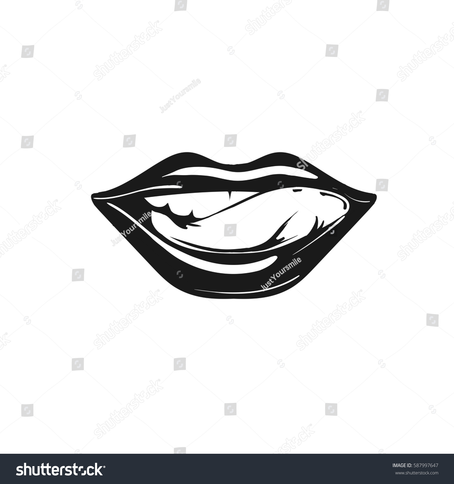 Licking Sexy Lips Vector Icon