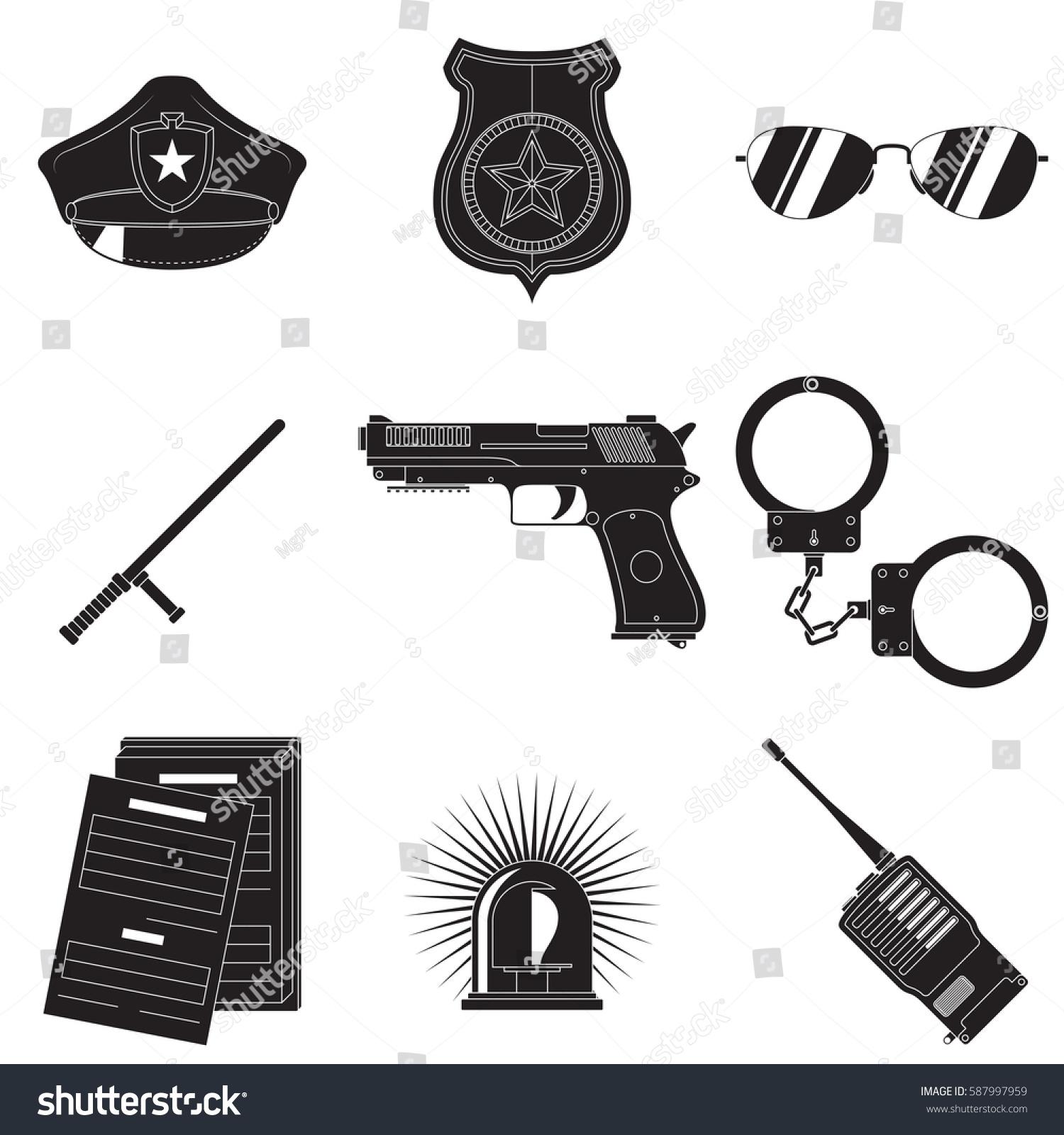 Vector Set Symbols Describing Police Theme Stock Vector Royalty