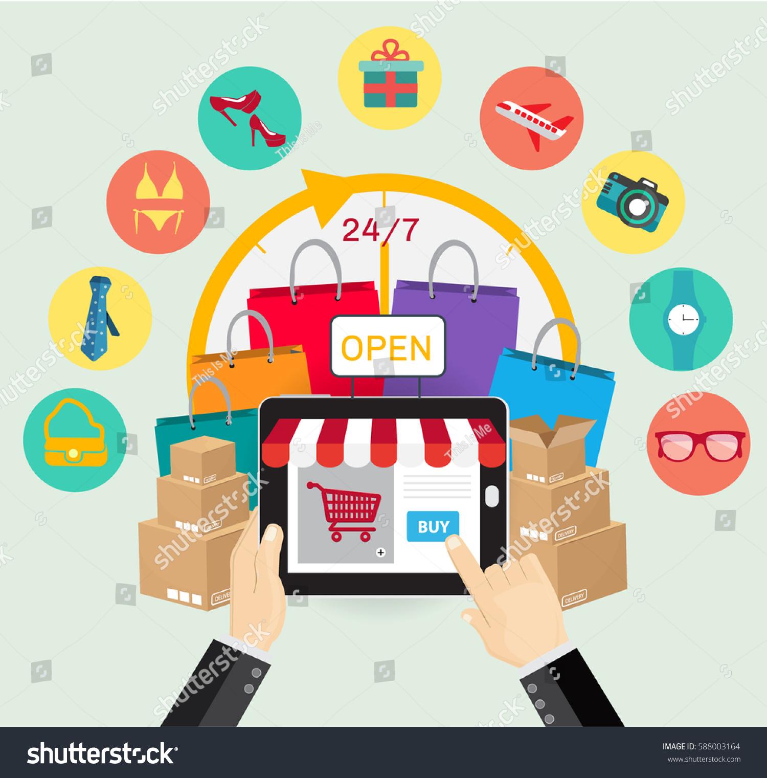 online shopping e merce concept business order stock vector