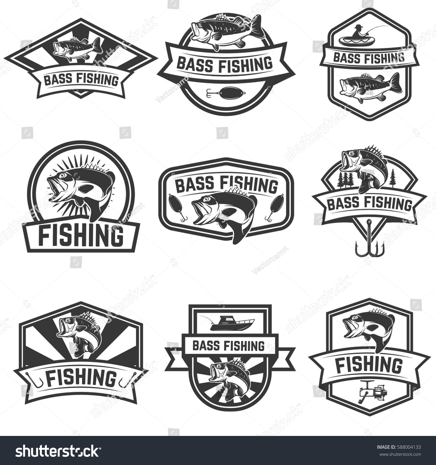Set Bass Fishing Emblem Templates Isolated Stock Vector 588004133 ...