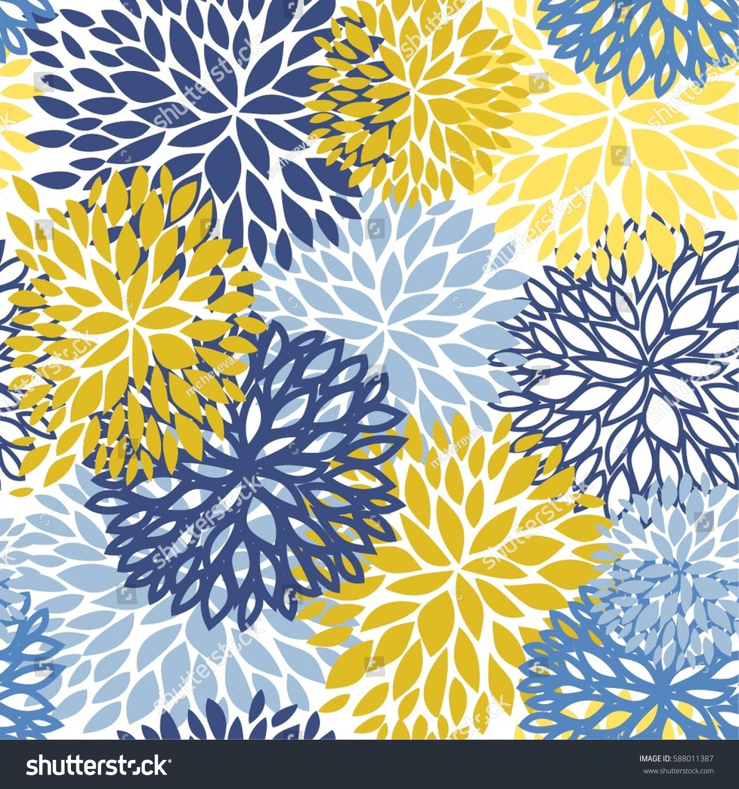 Spring Floral Seamless Pattern Blue Yellow Stock Vector Royalty
