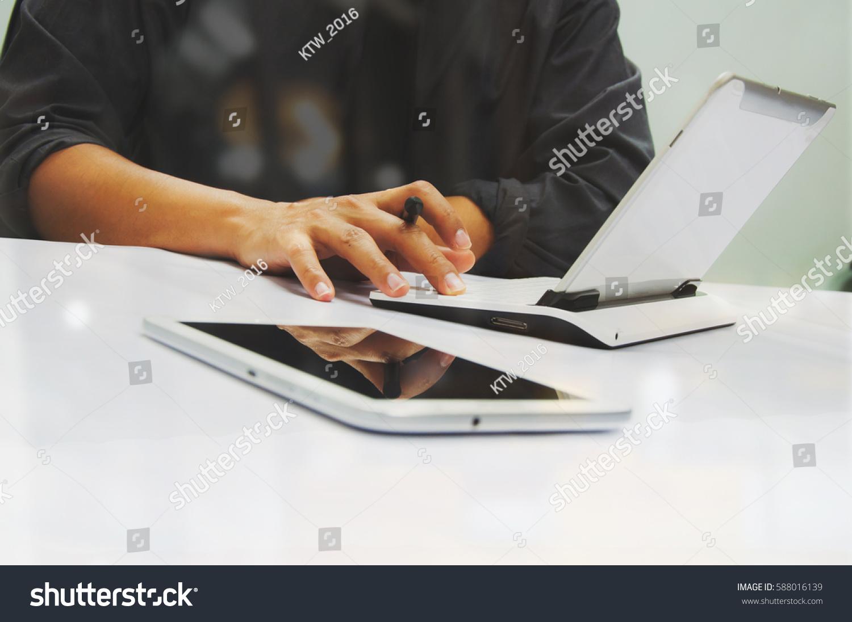 Businessman Working Office Digital Tablet Laptop Stock Photo