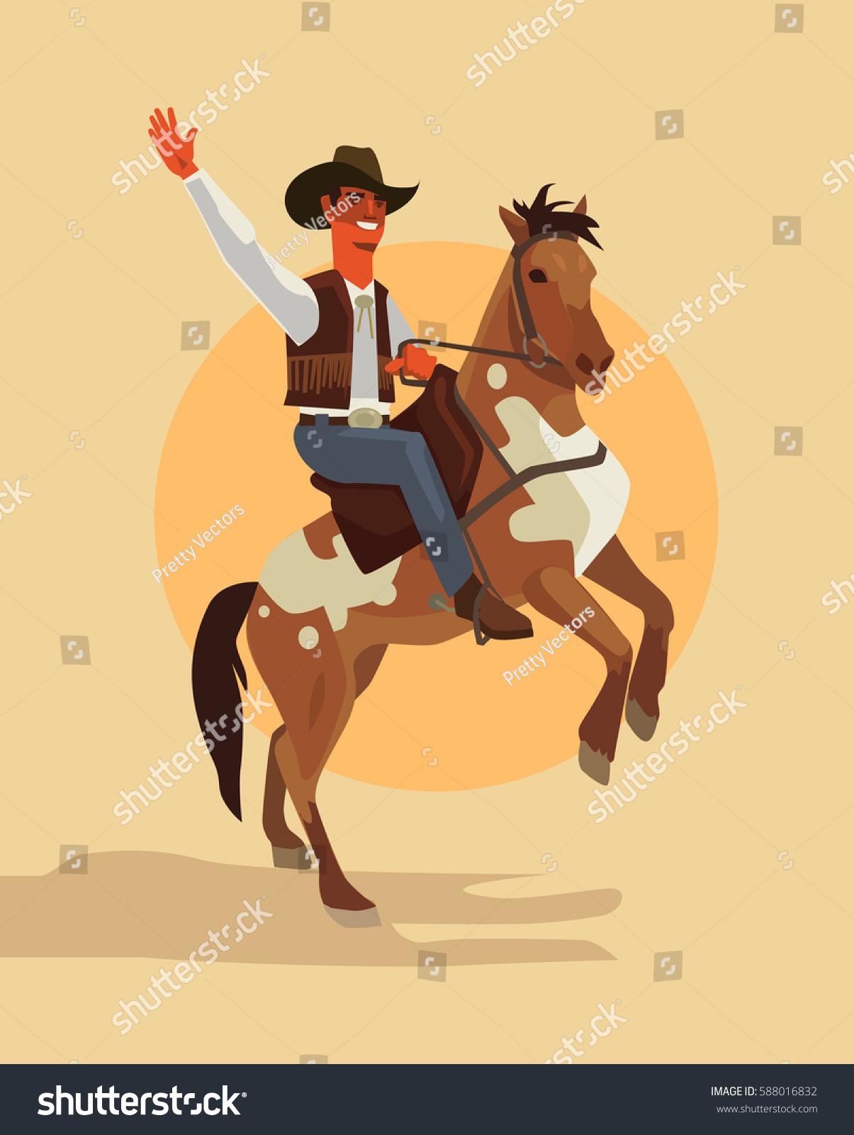 Cowboy Character Ride Horse Vector Flat Stockvector Rechtenvrij
