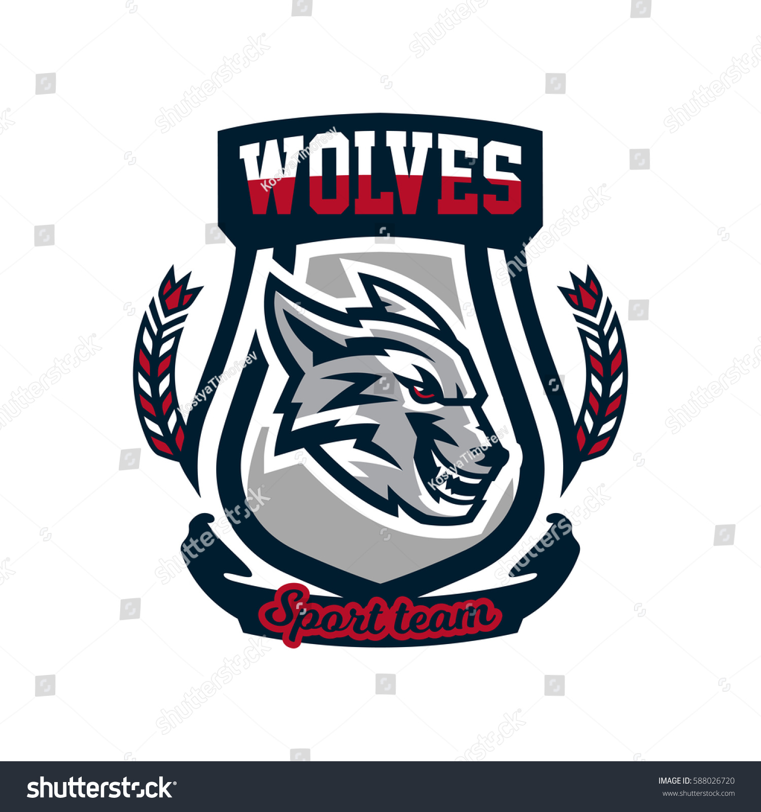 Colourful emblem logo sticker aggressive wolf ready to attack grin growling predator vector illustration sports style printing on t shirts vector